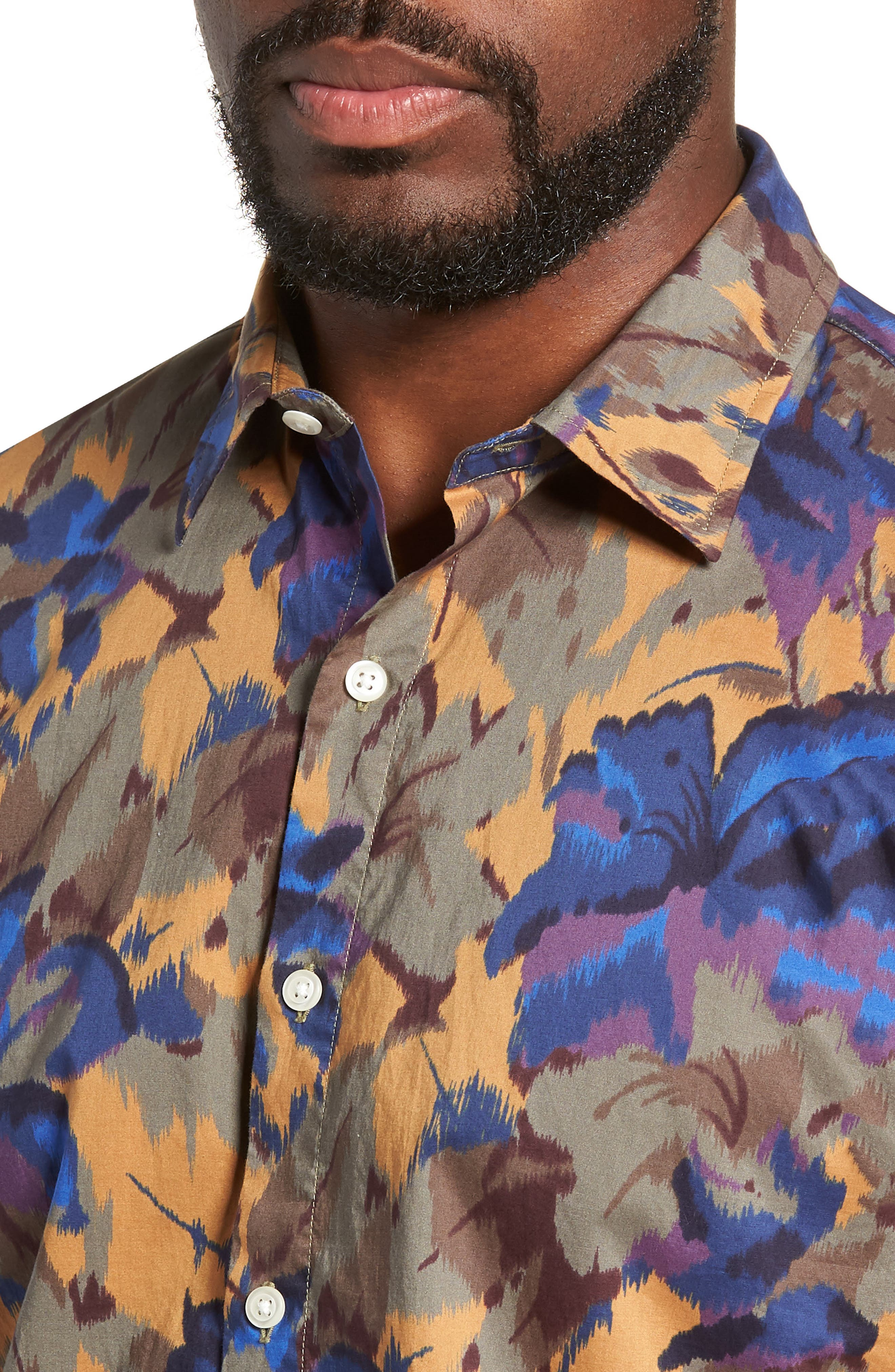 Riviera Slim Fit Sport Shirt,                             Alternate thumbnail 2, color,                             FADED FLORAL - AMBER TOPAZ