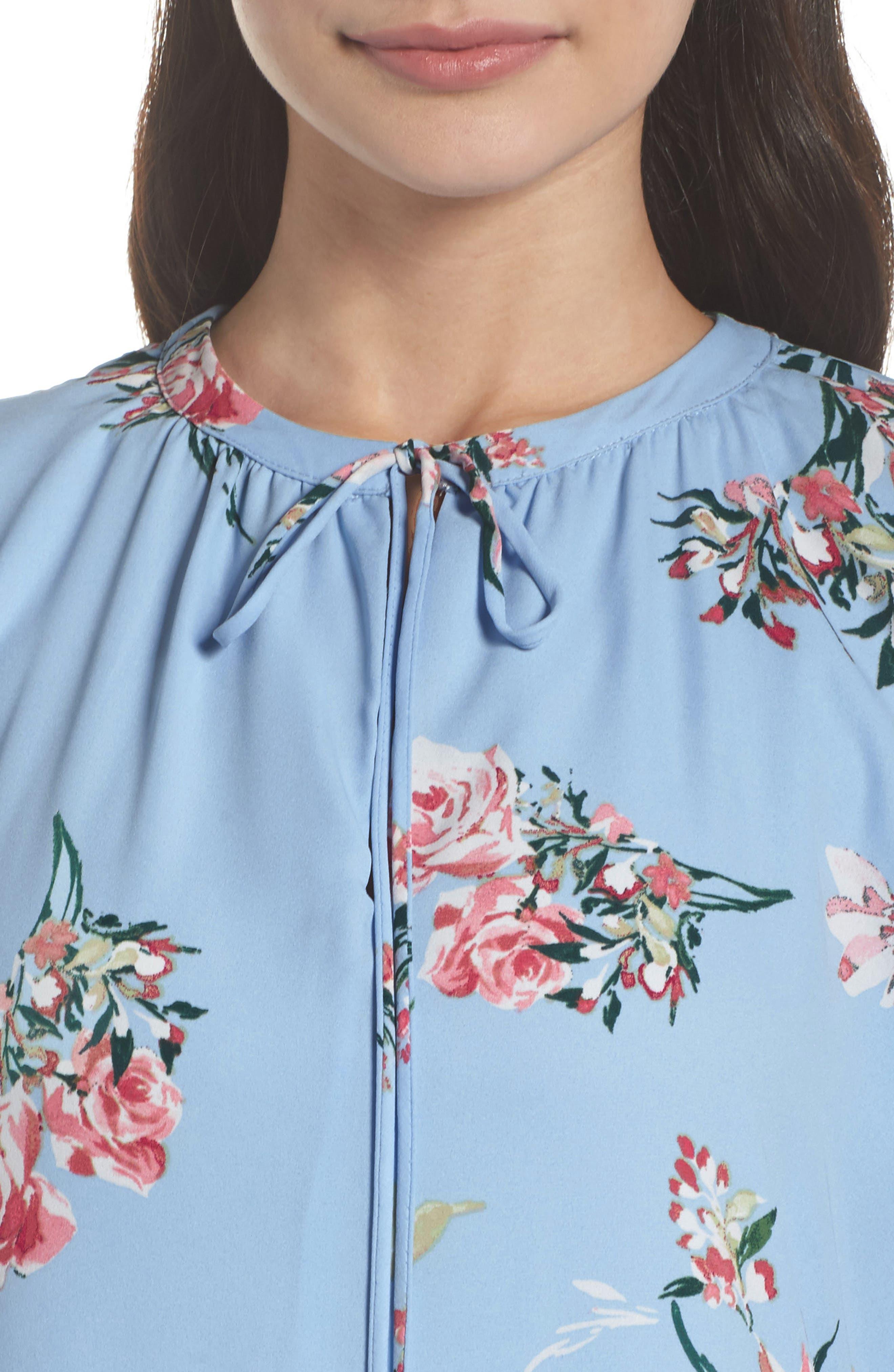 Floral Shift Dress,                             Alternate thumbnail 4, color,                             475