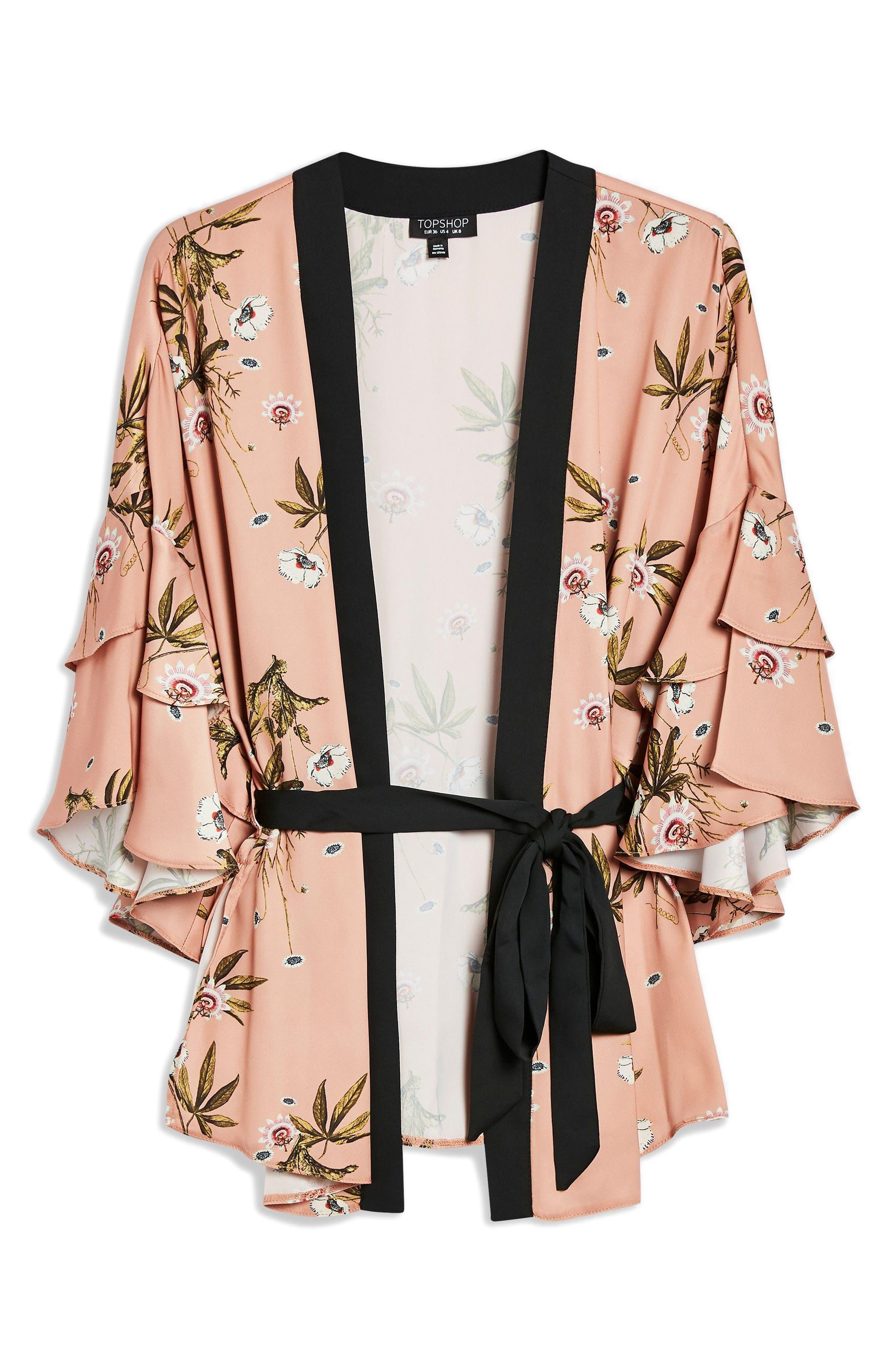 Penel Frill Floral Kimono,                             Alternate thumbnail 3, color,                             BLUSH