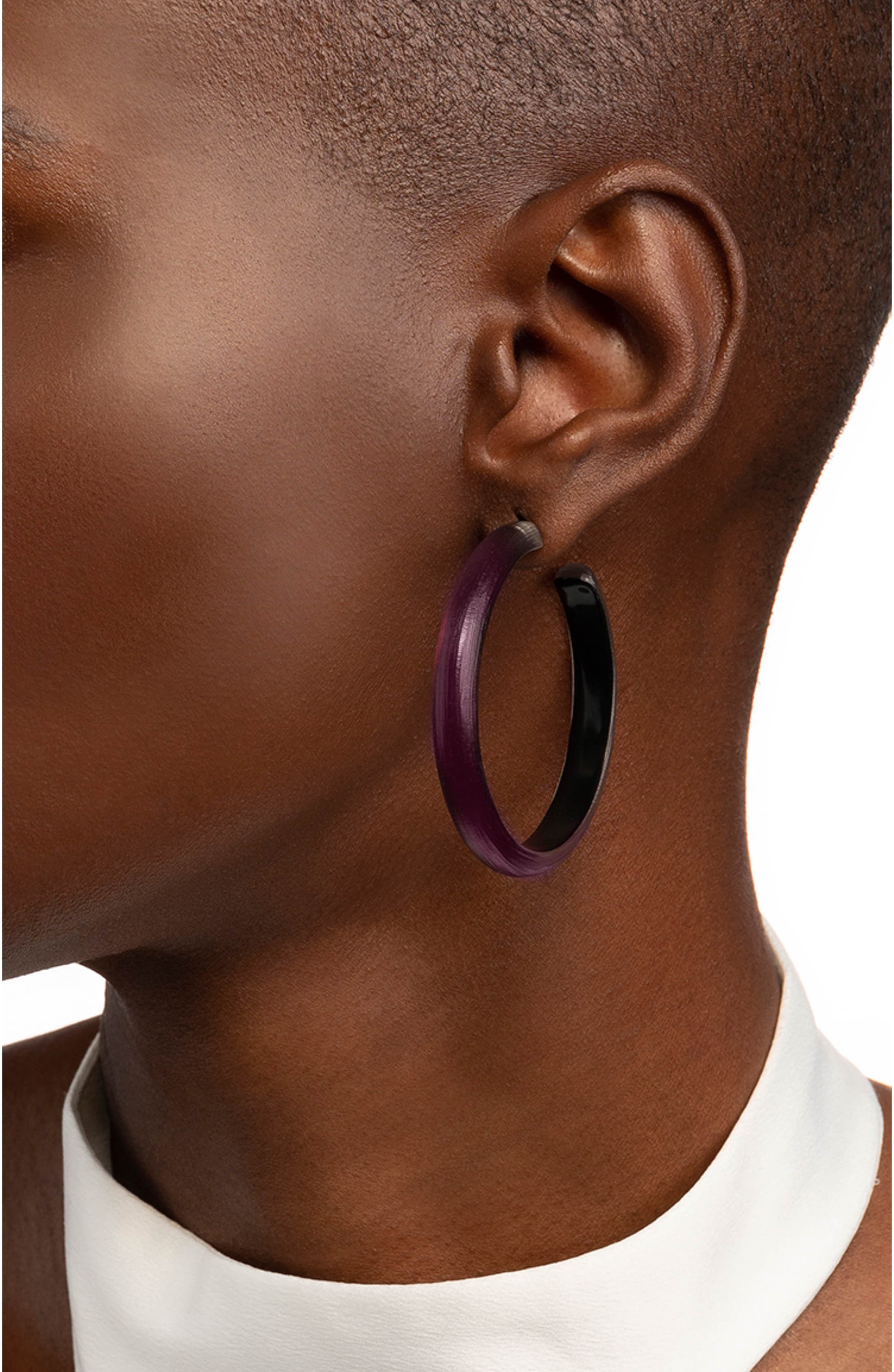 ALEXIS BITTAR,                             Retro Gold Collection Large Lucite<sup>®</sup> Hoop Earrings,                             Alternate thumbnail 2, color,                             BLACK CHERRY