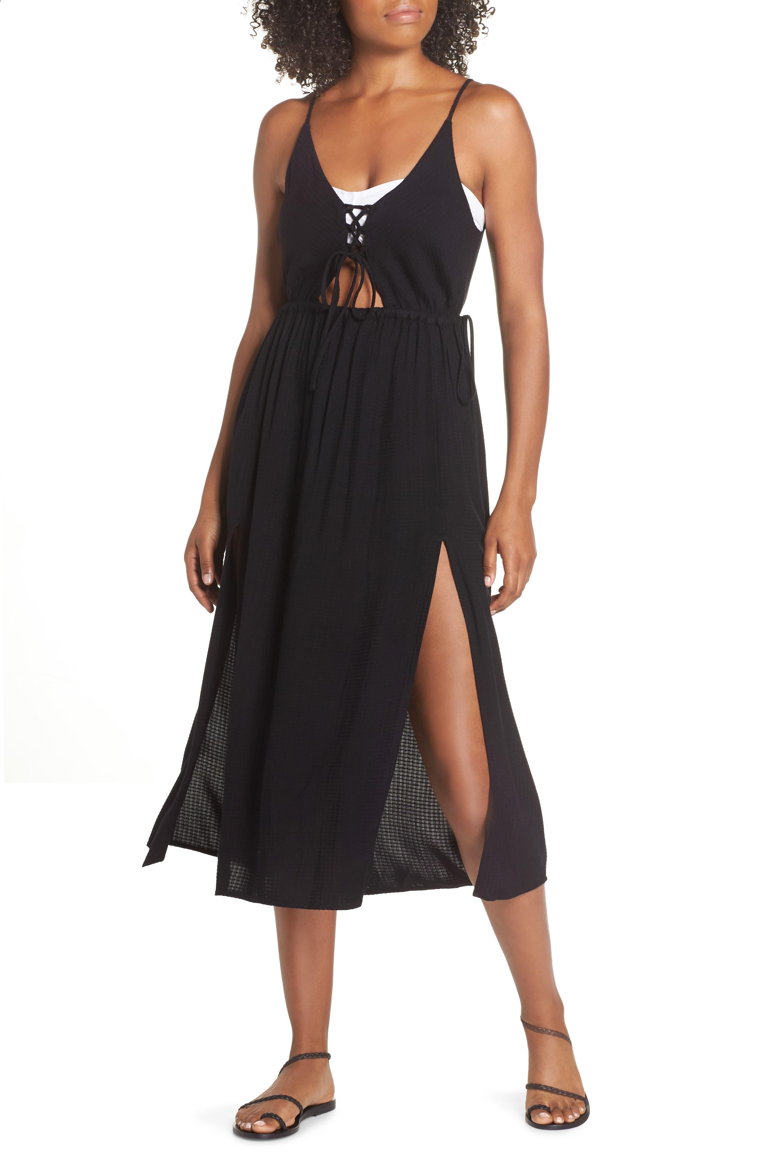 Cory Open Back Cover-Up Midi Dress,                         Main,                         color, BLACK