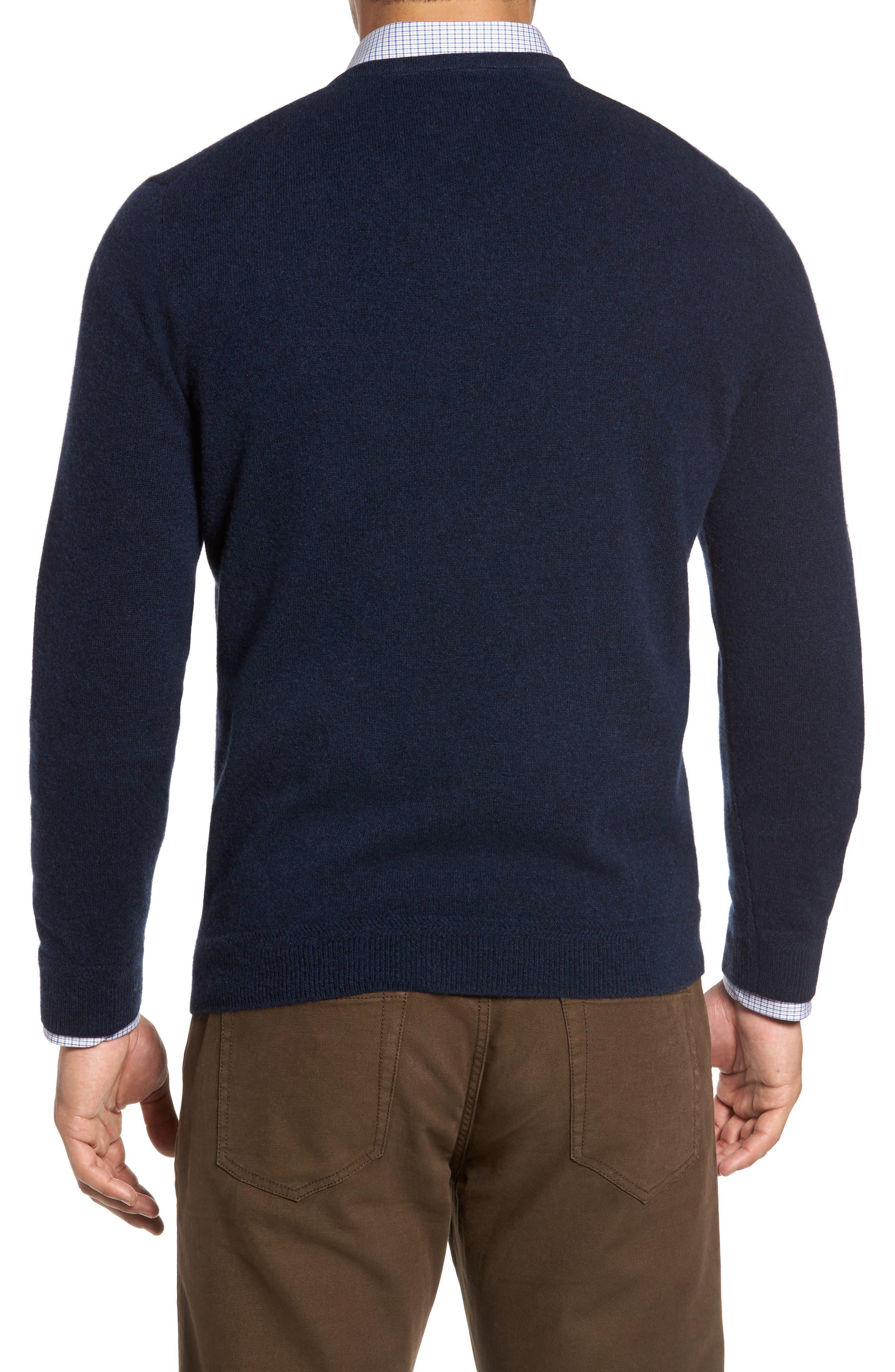 John W. Nordstrom Cashmere V-Neck Sweater,                             Alternate thumbnail 3, color,                             BLUE ESTATE HEATHER