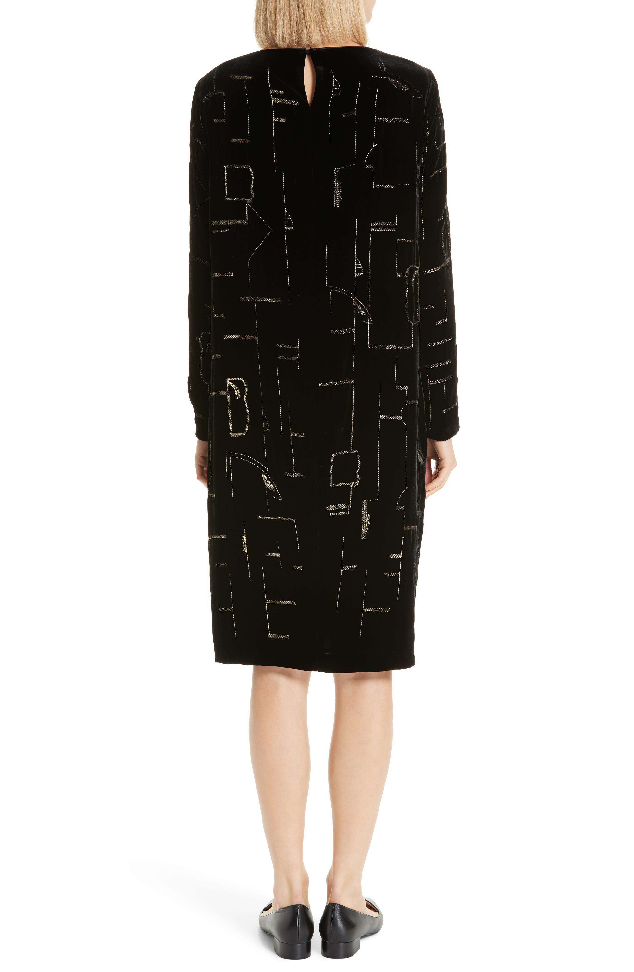 LAFAYETTE 148 NEW YORK,                             Cressida Embellished Velvet Dress,                             Alternate thumbnail 2, color,                             BLACK MULTI