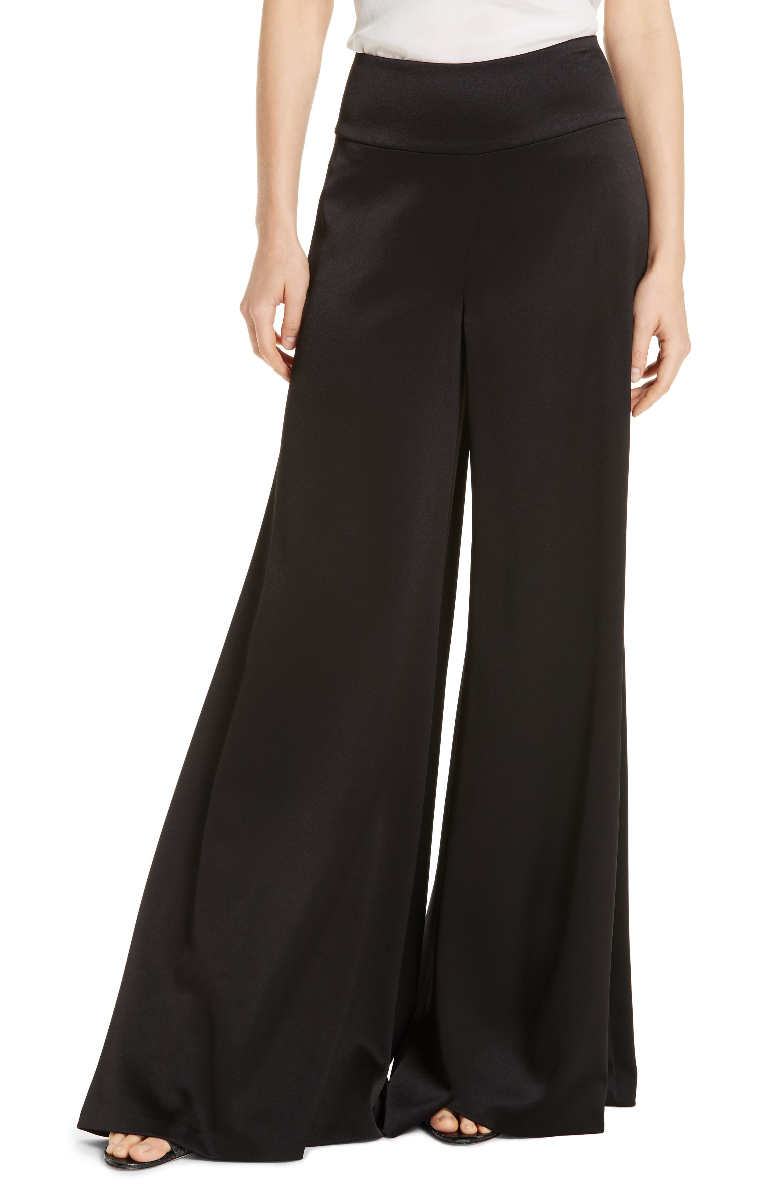 Alice + Olivia Iyanna High Waist Fit & Flare Pants, Black