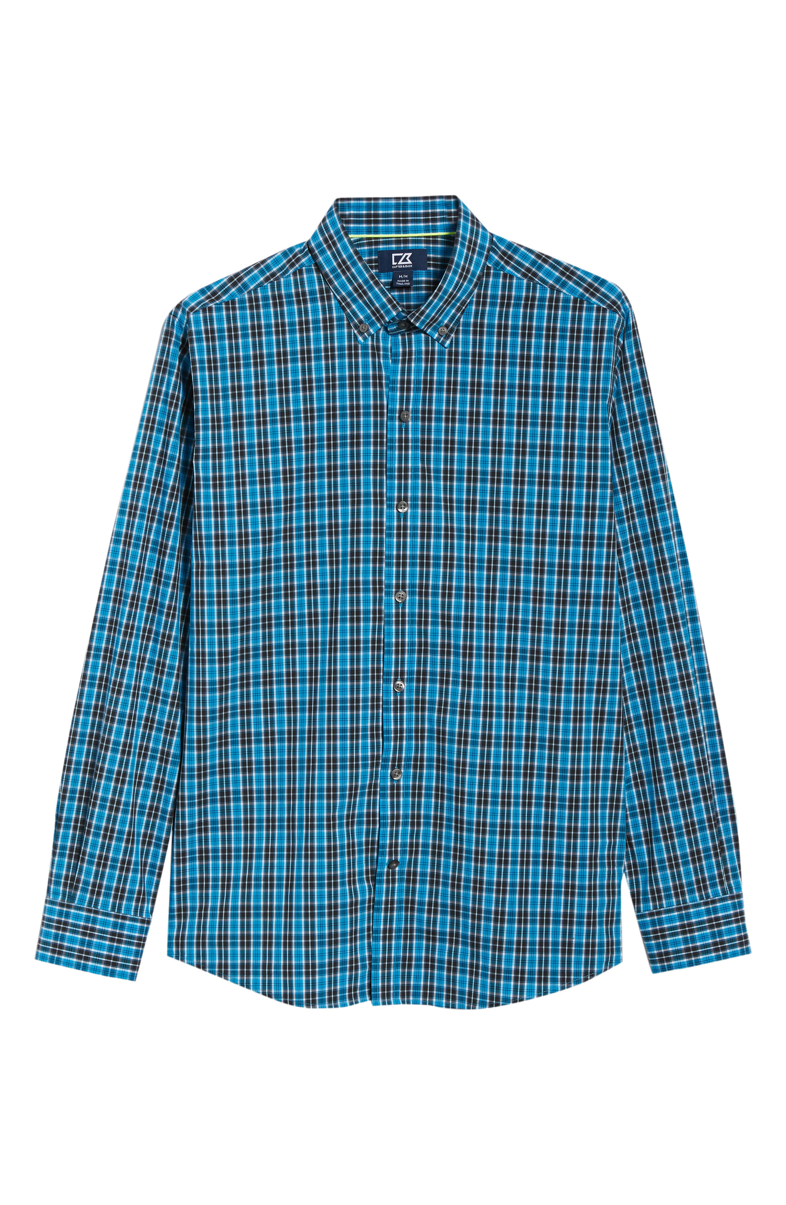 Ronald Regular Fit Plaid Performance Sport Shirt,                             Alternate thumbnail 5, color,                             ORBIT