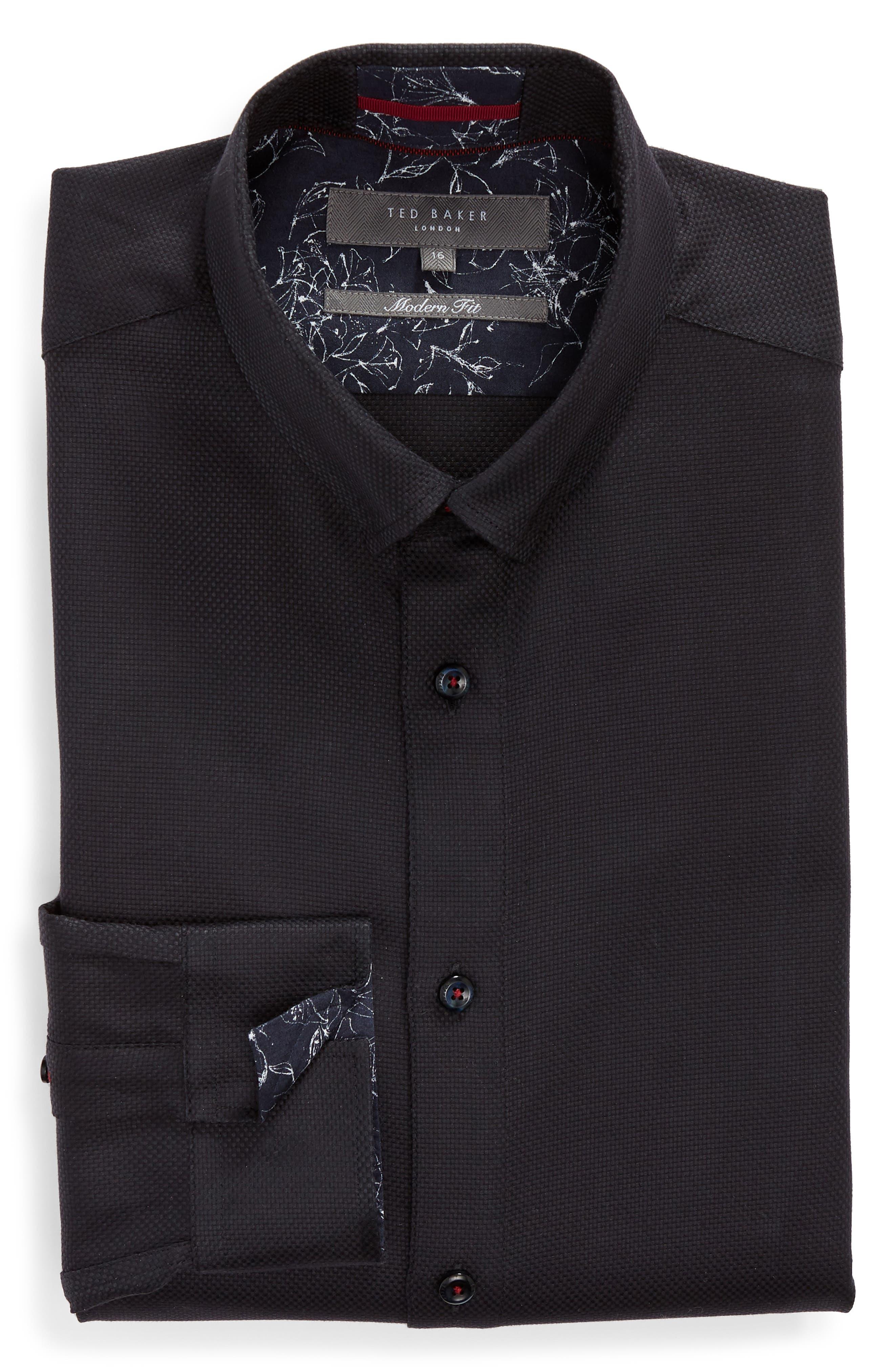Leek Slim Fit Solid Dress Shirt,                             Alternate thumbnail 5, color,                             NAVY