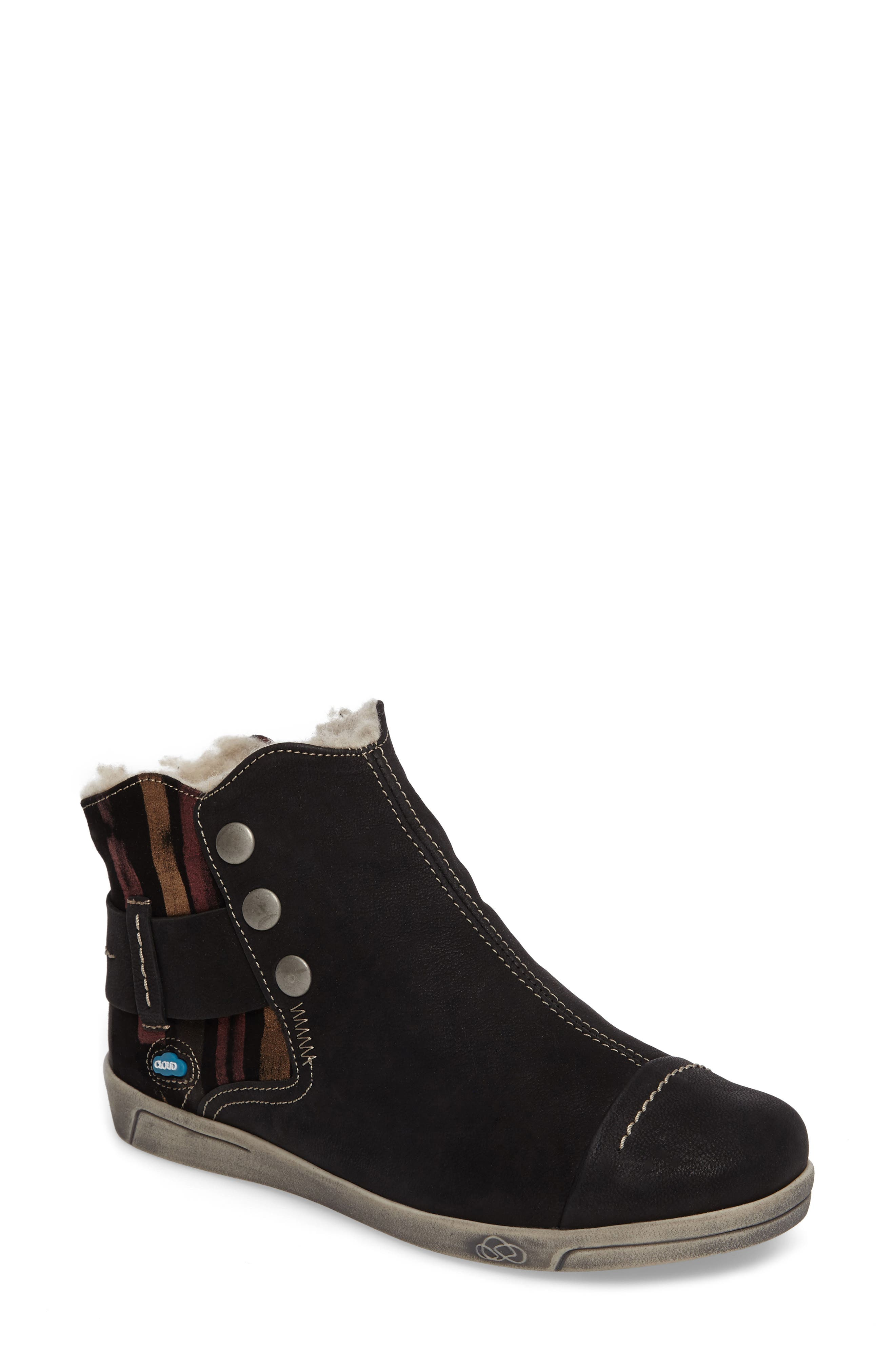 Aline Fantasy Wool Liked Boot,                             Main thumbnail 1, color,                             BLACK LEATHER