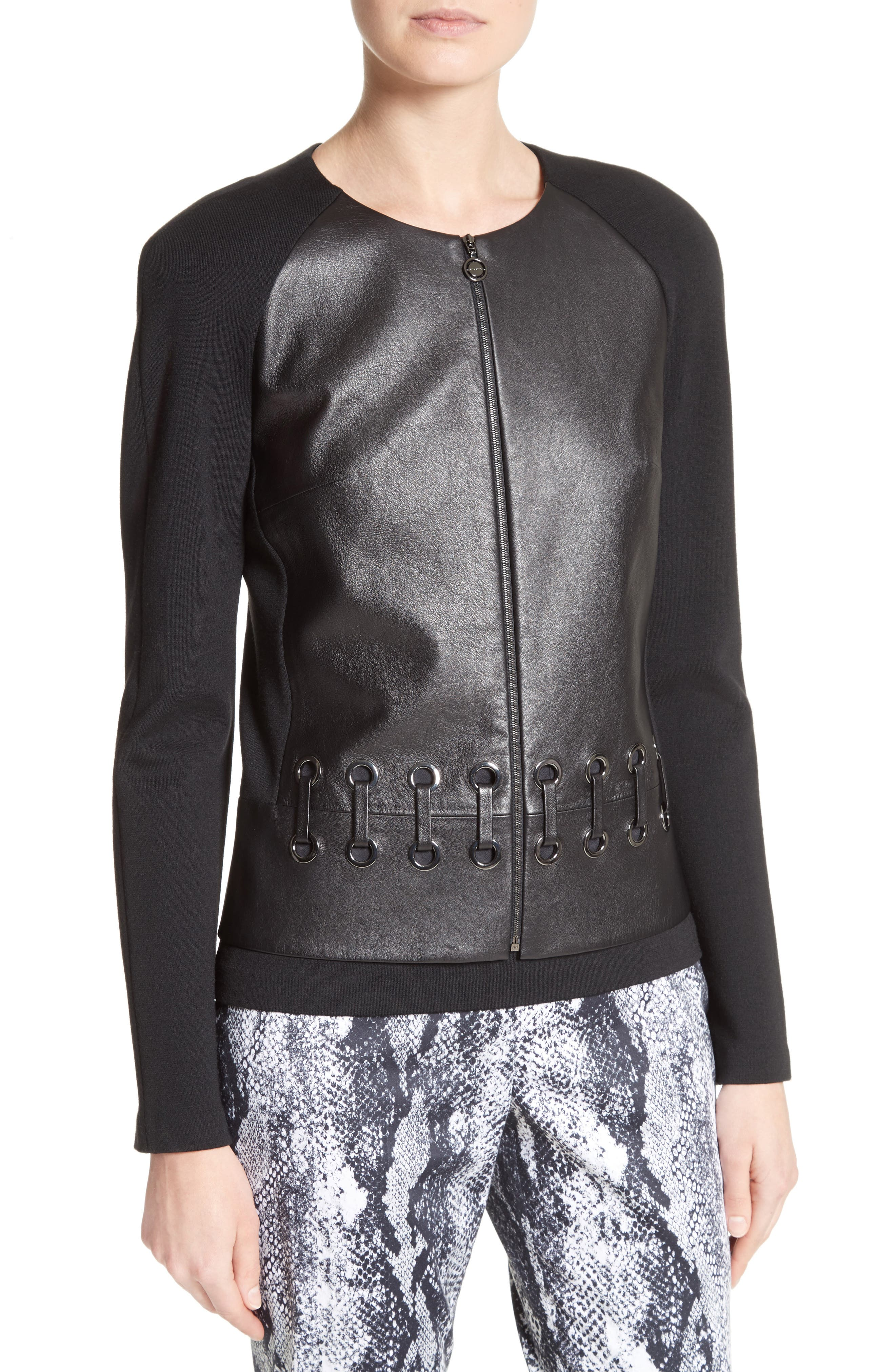 Leather Front Milano Knit Jacket,                             Alternate thumbnail 4, color,                             001