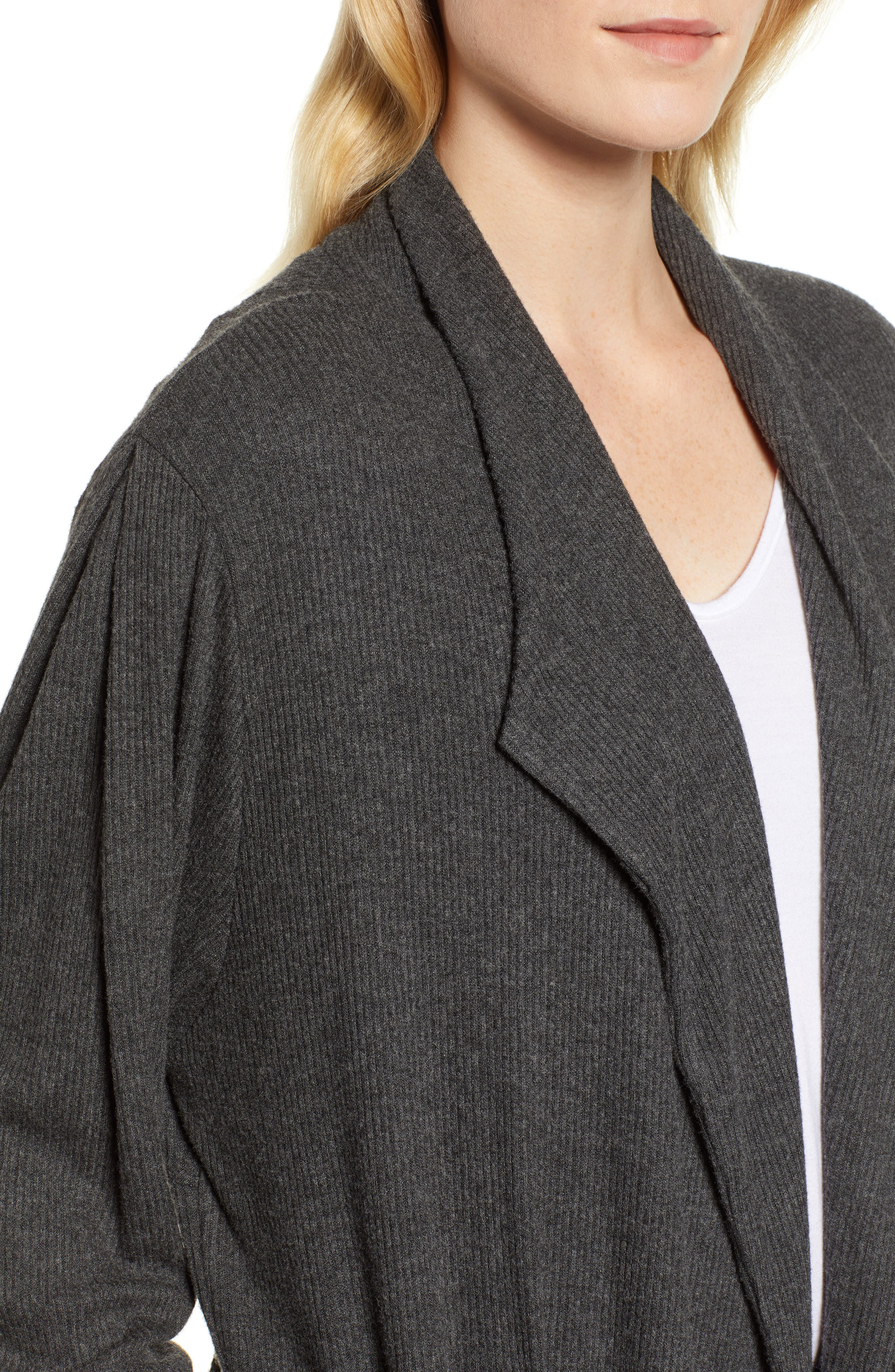 Cozy Rib Open Front Cardigan,                             Alternate thumbnail 4, color,                             ANTHRACITE