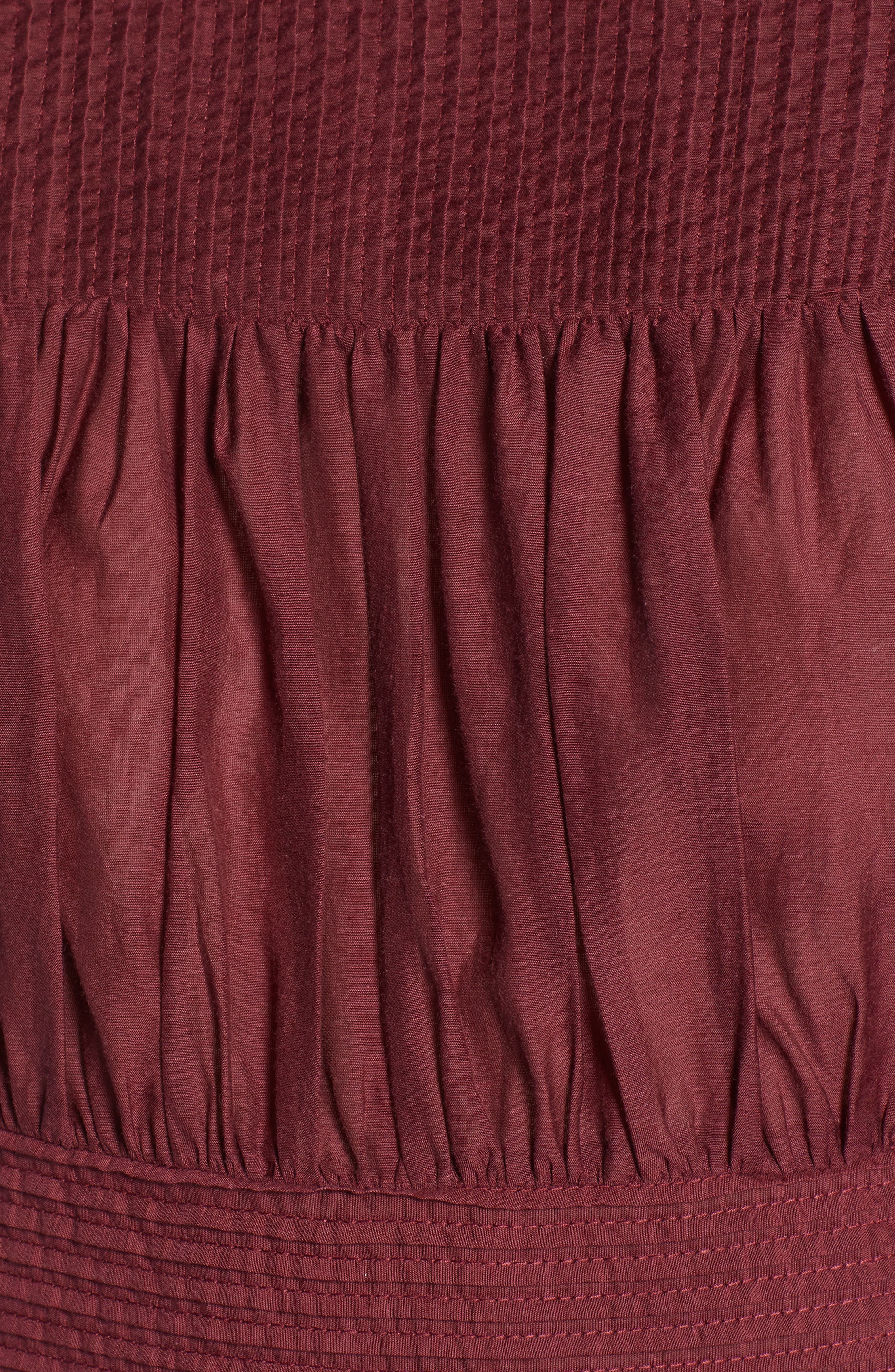 Pleated Peplum Top,                             Alternate thumbnail 6, color,                             RED TANNIN