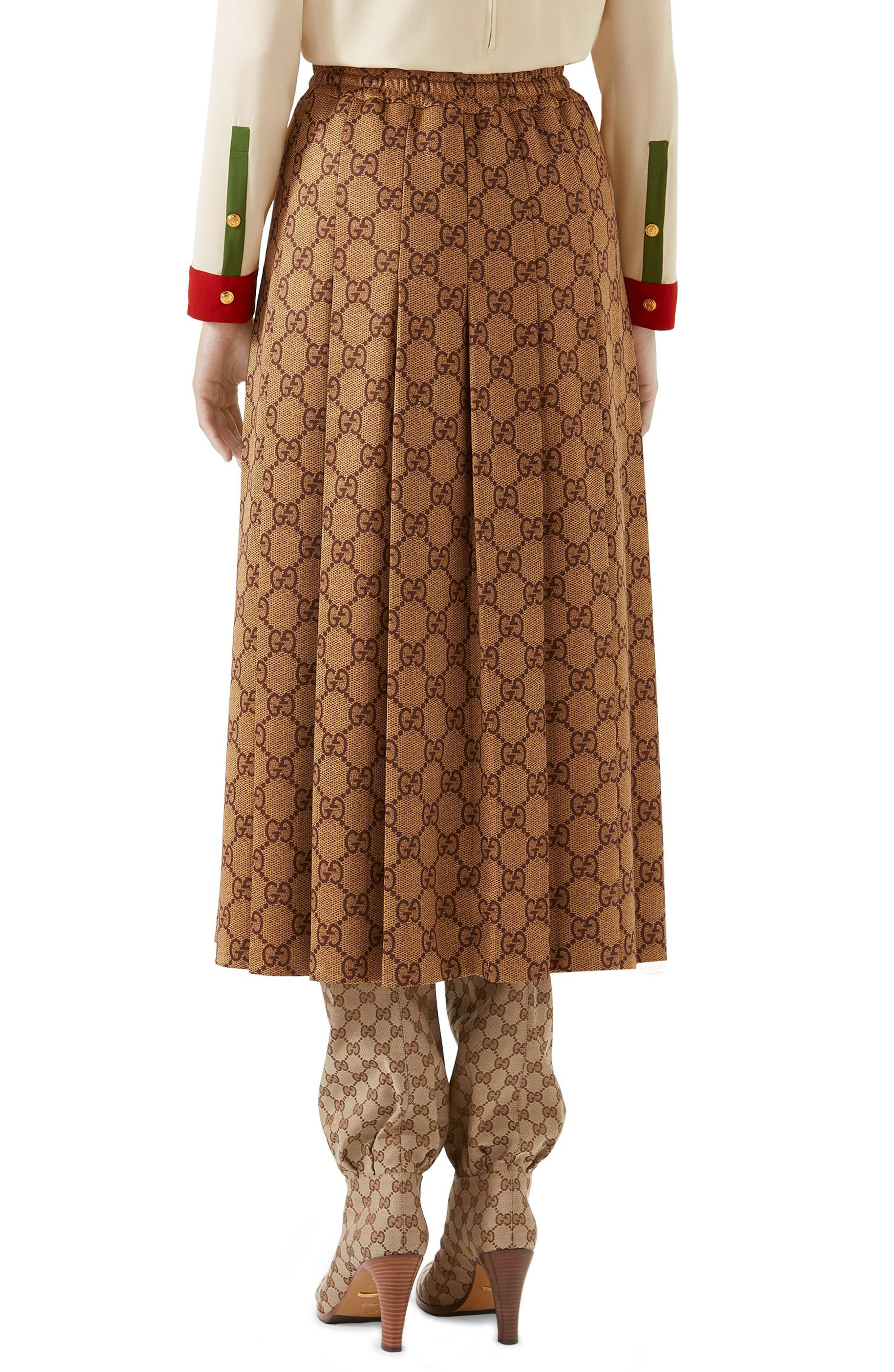 GG Print Pleated Midi Skirt,                             Alternate thumbnail 2, color,                             VINTAGE CAMEL