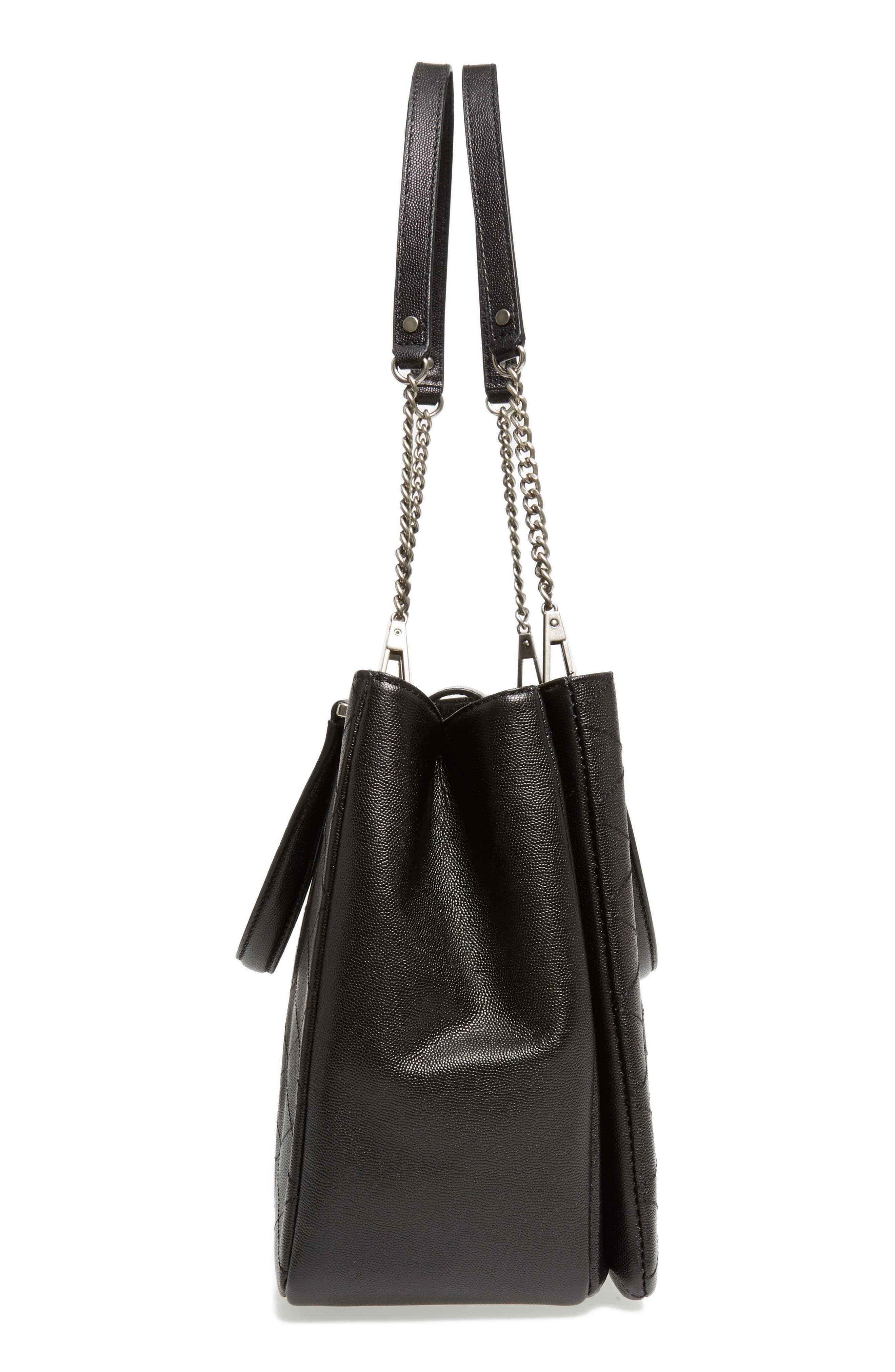 Je T'aime Leather Work Tote,                             Alternate thumbnail 5, color,                             001