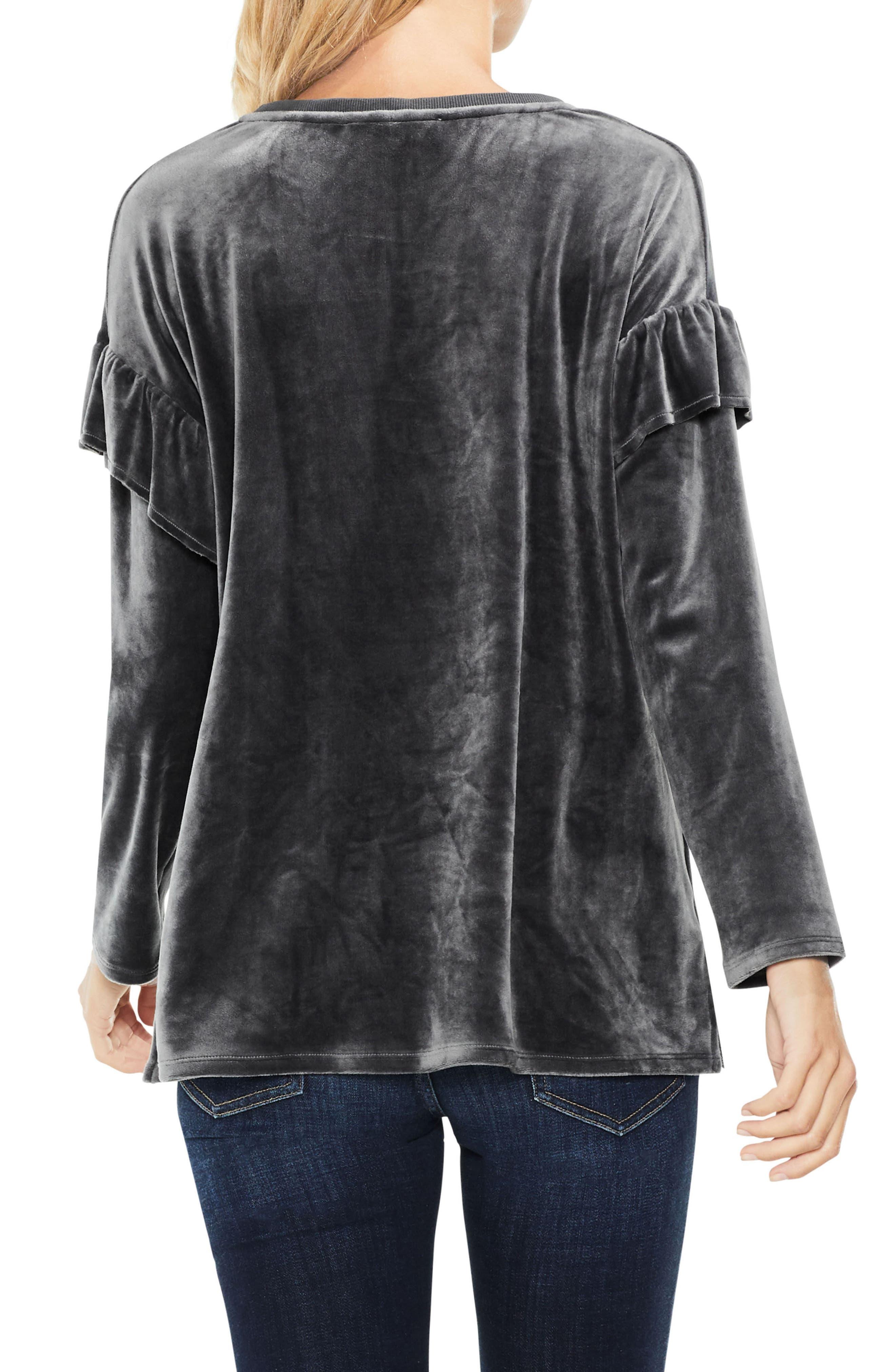 Long Sleeve Ruffle Shoulder Velour Top,                             Alternate thumbnail 2, color,                             024