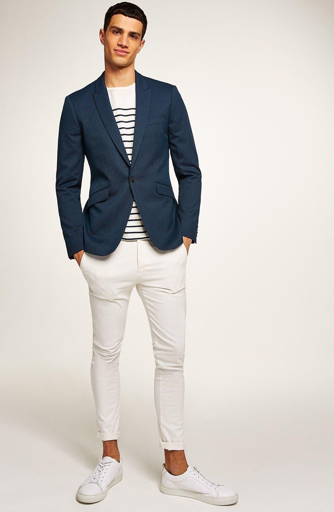 Skinny Fit Pin Dot Suit Jacket,                             Alternate thumbnail 5, color,                             DARK BLUE
