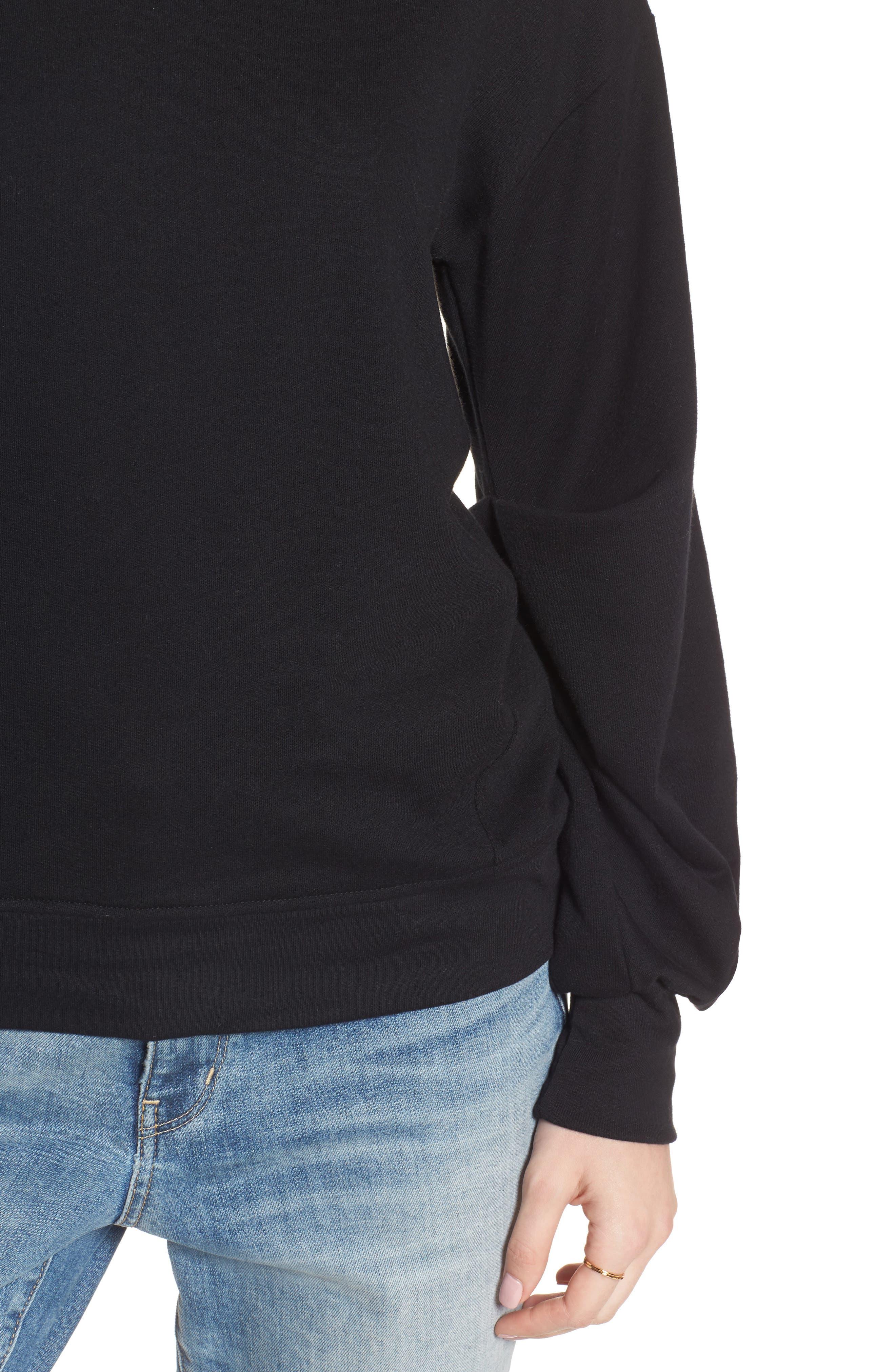 Pleated Sleeve Sweatshirt,                             Alternate thumbnail 4, color,                             001