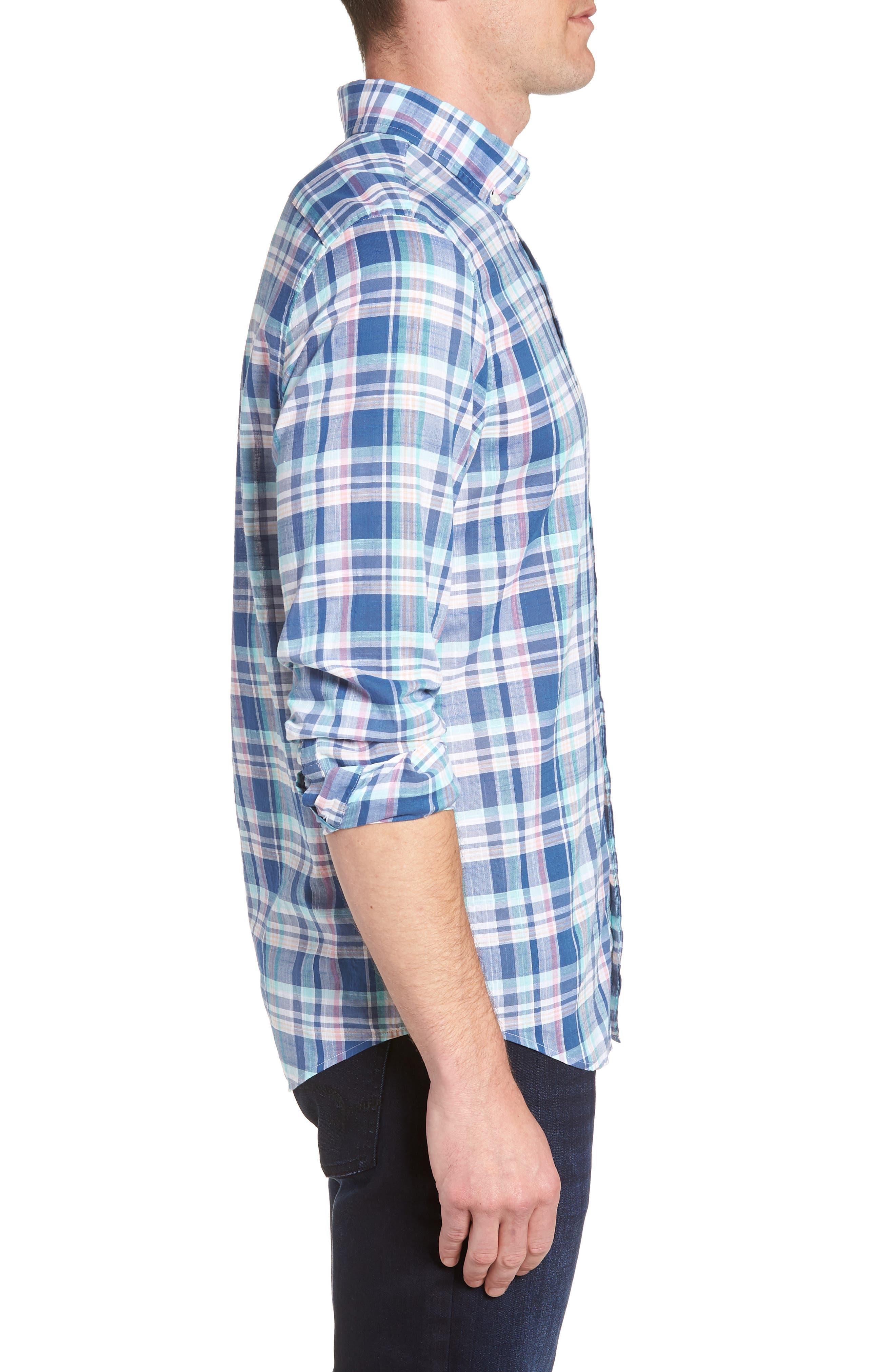 Primrose Plaid Slim Fit Tucker Sport Shirt,                             Alternate thumbnail 3, color,                             FLAG BLUE