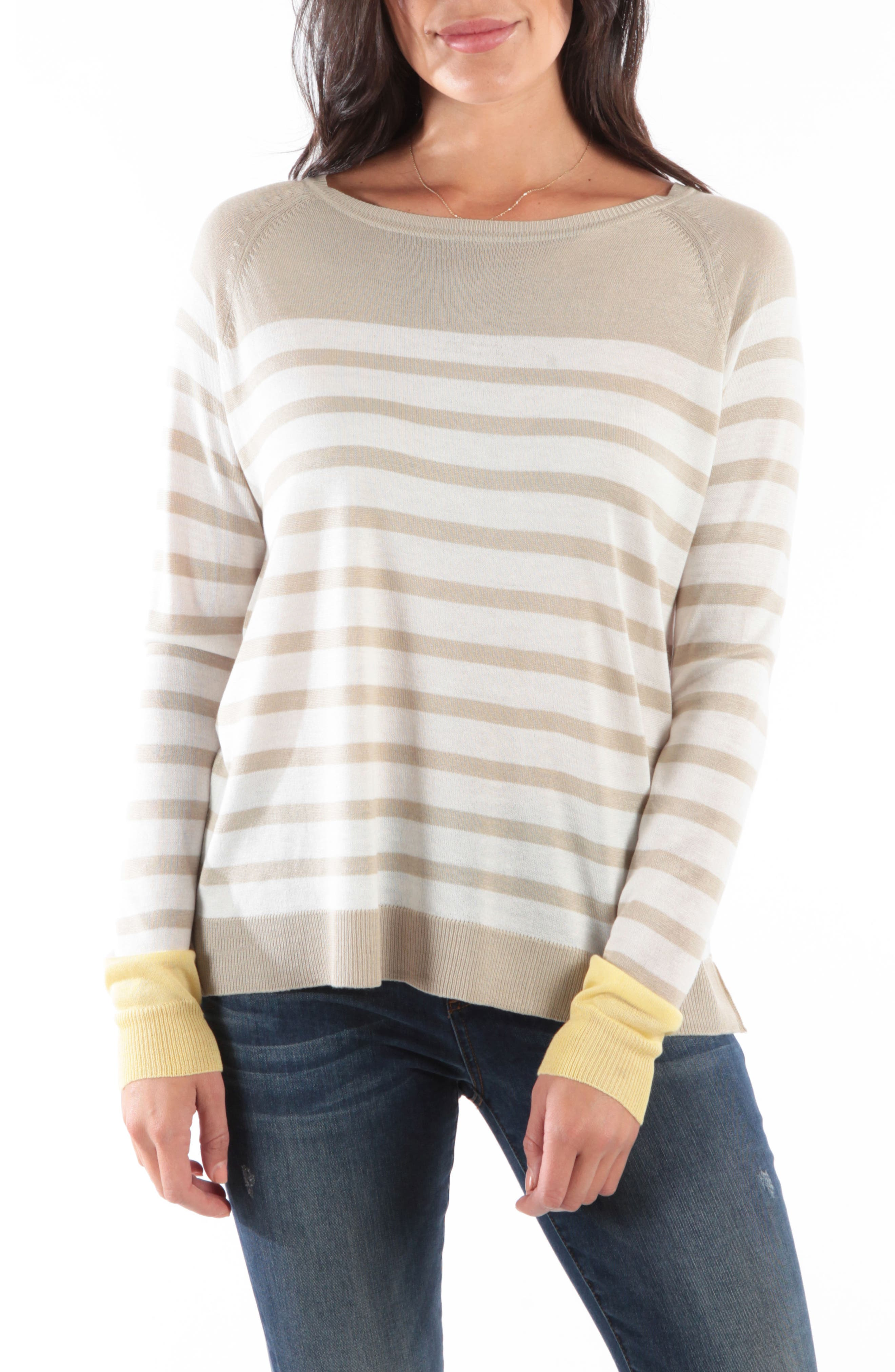KUT FROM THE KLOTH Bianka Stripe Sweater, Main, color, OATMEAL/ OFF WHITE