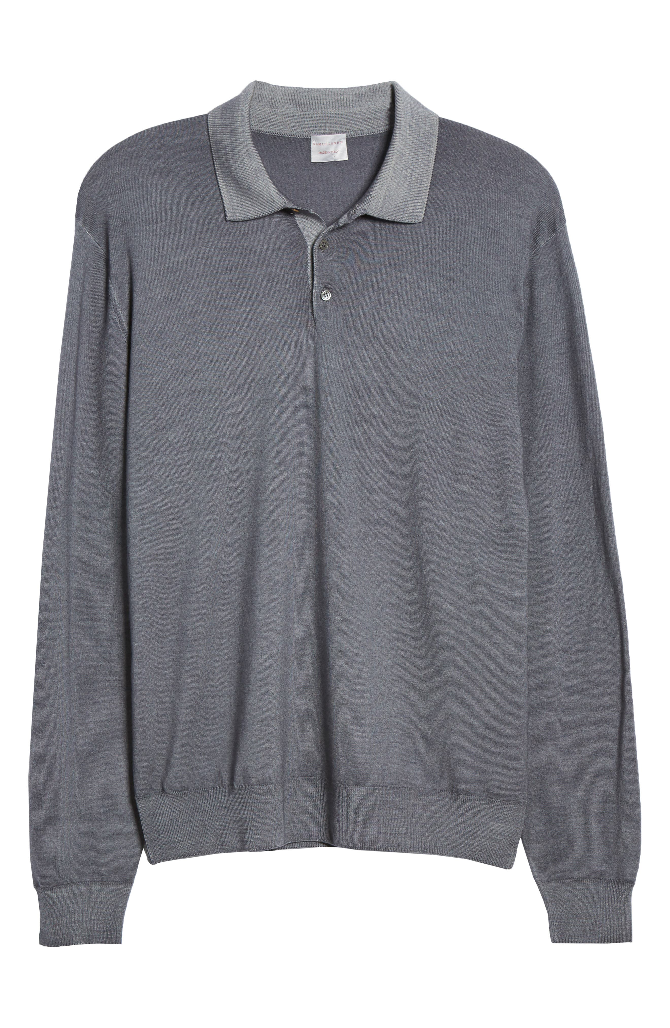 Dustin Wool Polo Sweater,                             Alternate thumbnail 6, color,                             GREY
