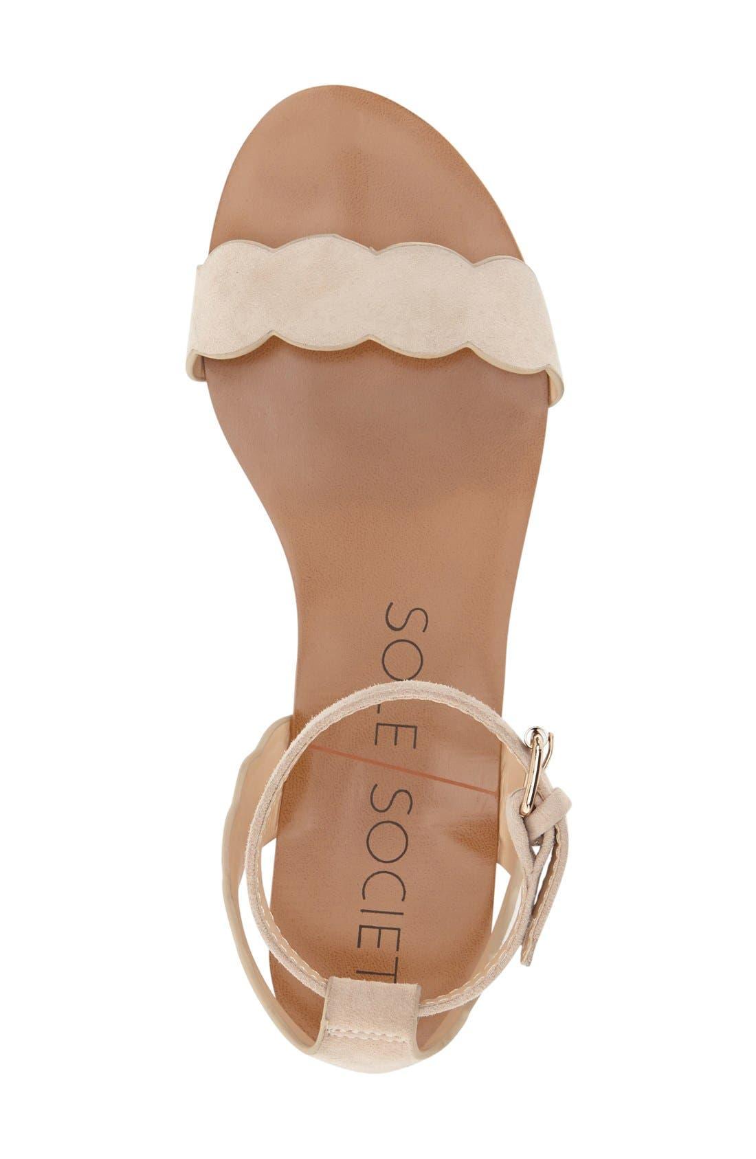'Odette' Scalloped Ankle Strap Flat Sandal,                             Alternate thumbnail 12, color,