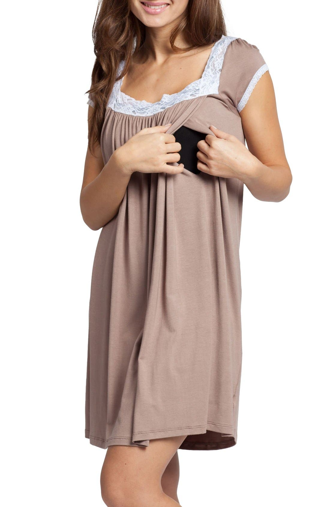 'The Lace' Maternity/Nursing Nightgown,                             Alternate thumbnail 3, color,                             210