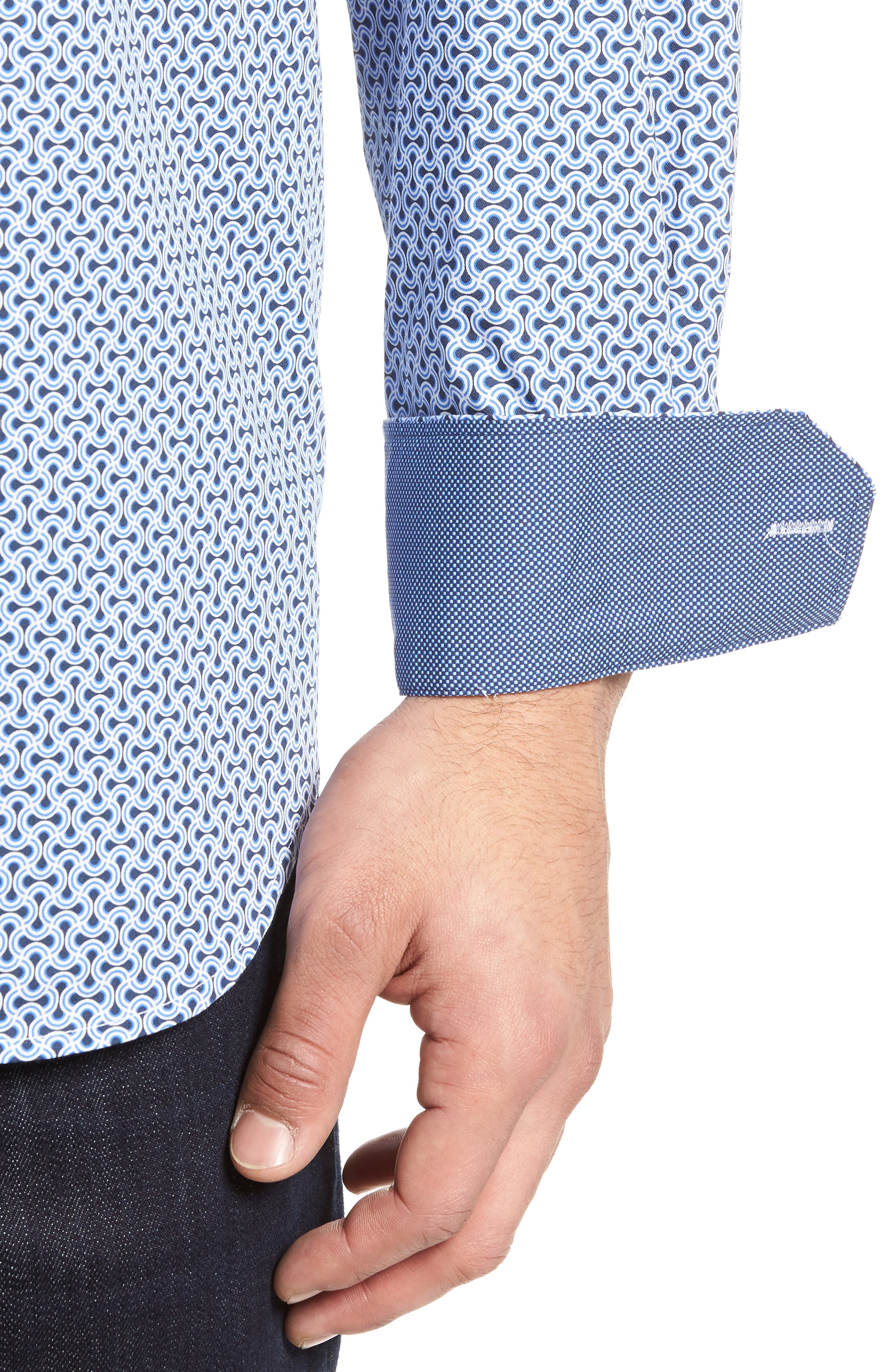 Classic Fit Print Sport Shirt,                             Alternate thumbnail 4, color,                             451