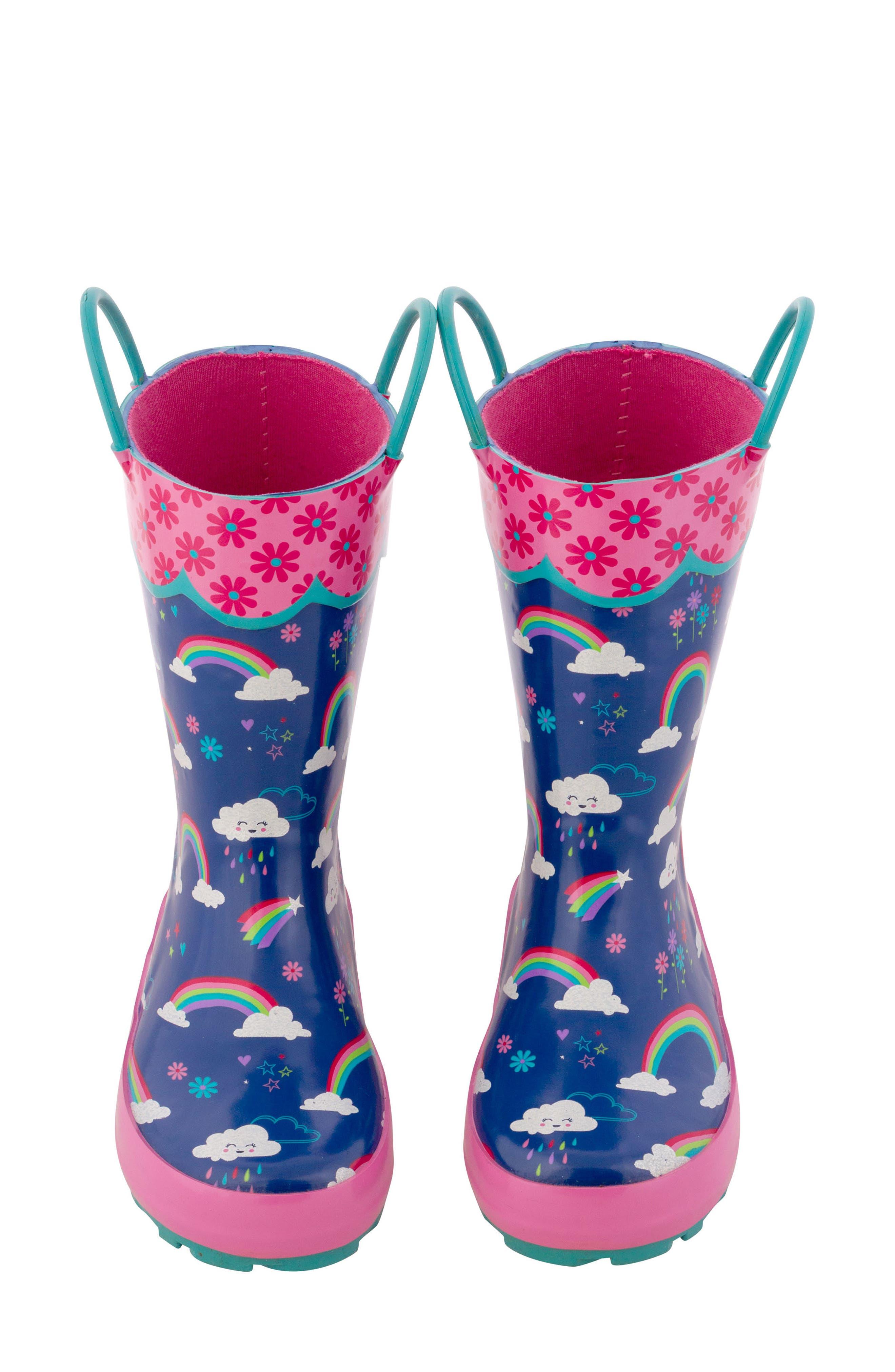 STEPHEN JOSEPH,                             Rainbow Rain Boots & Umbrella Set,                             Alternate thumbnail 3, color,                             RAINBOW