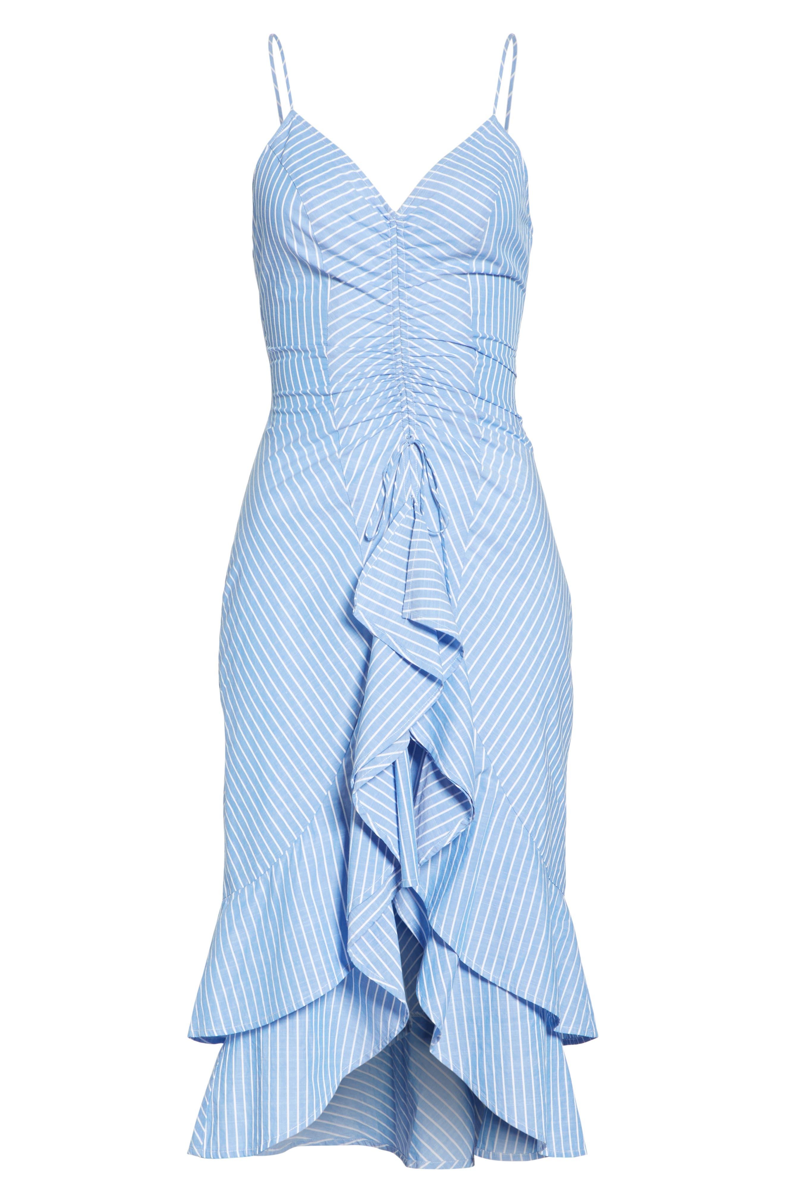Eberta Stripe High/Low Dress,                             Alternate thumbnail 7, color,                             FRENCH CHAMBRAY