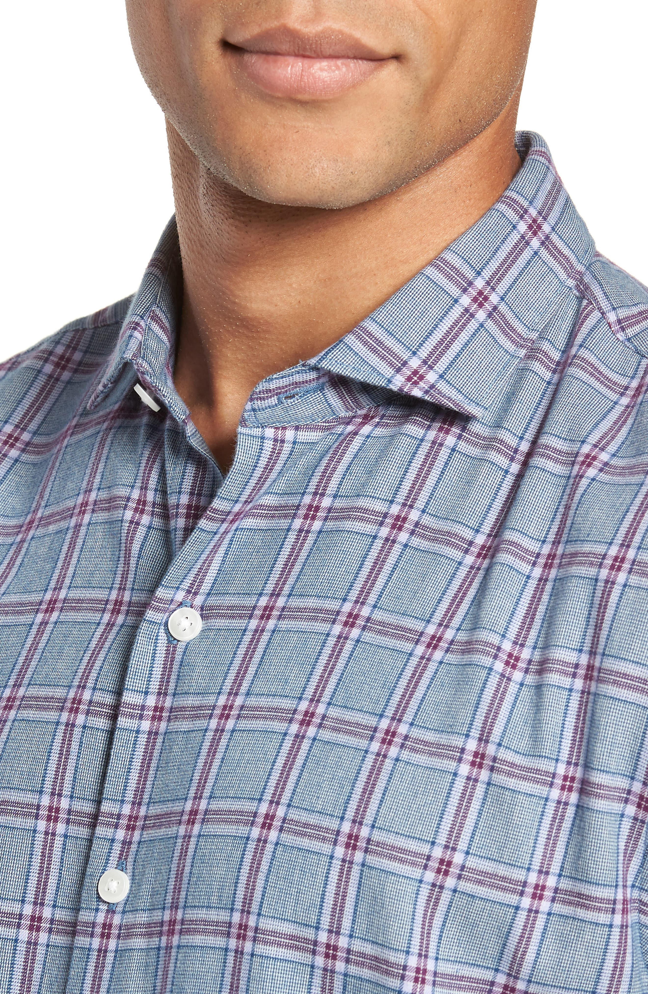 Unbutton Down Slim Fit Check Sport Shirt,                             Alternate thumbnail 2, color,                             GRAPESEED