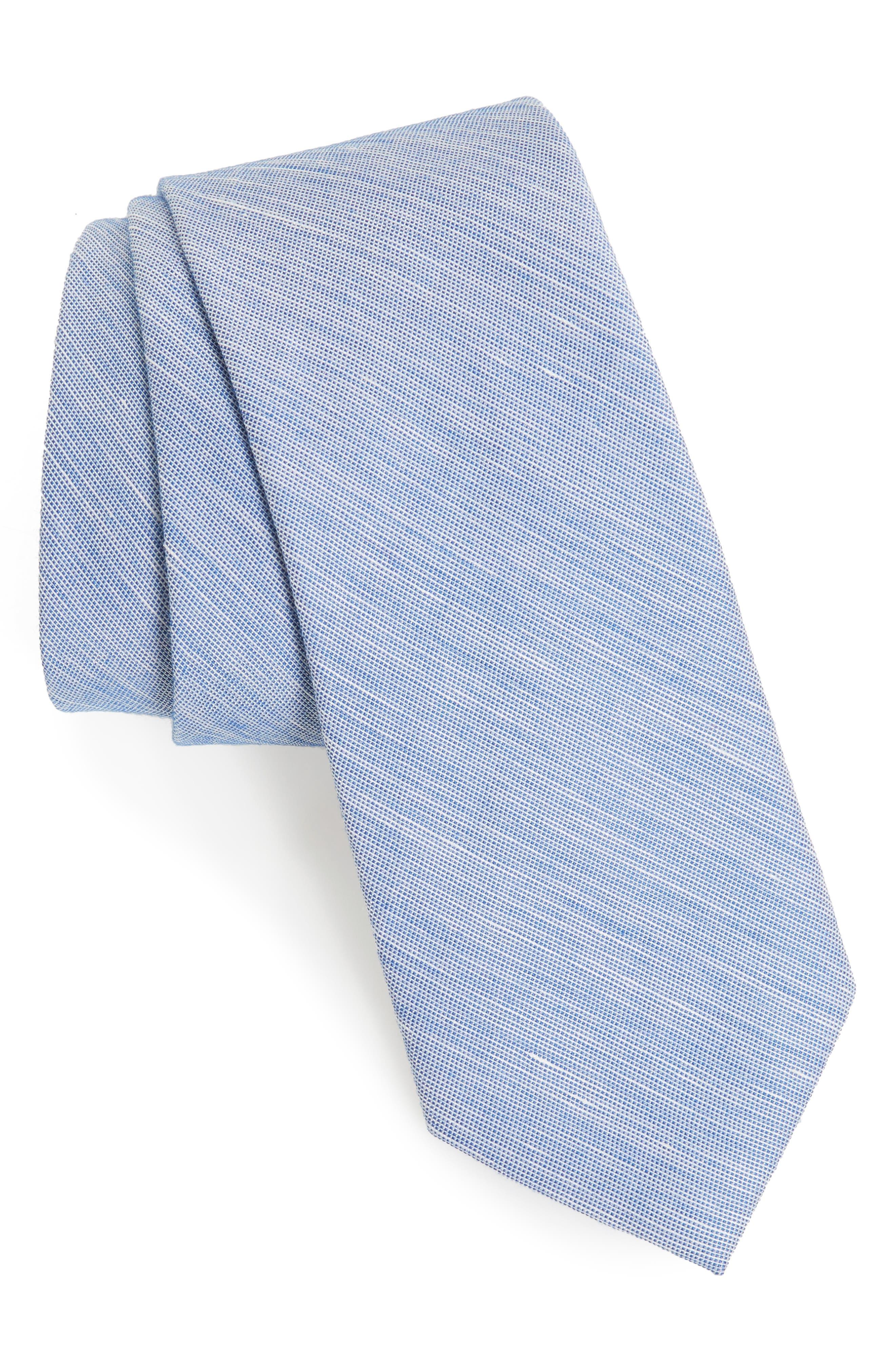 Adena Solid Silk Blend Skinny Tie,                             Main thumbnail 3, color,