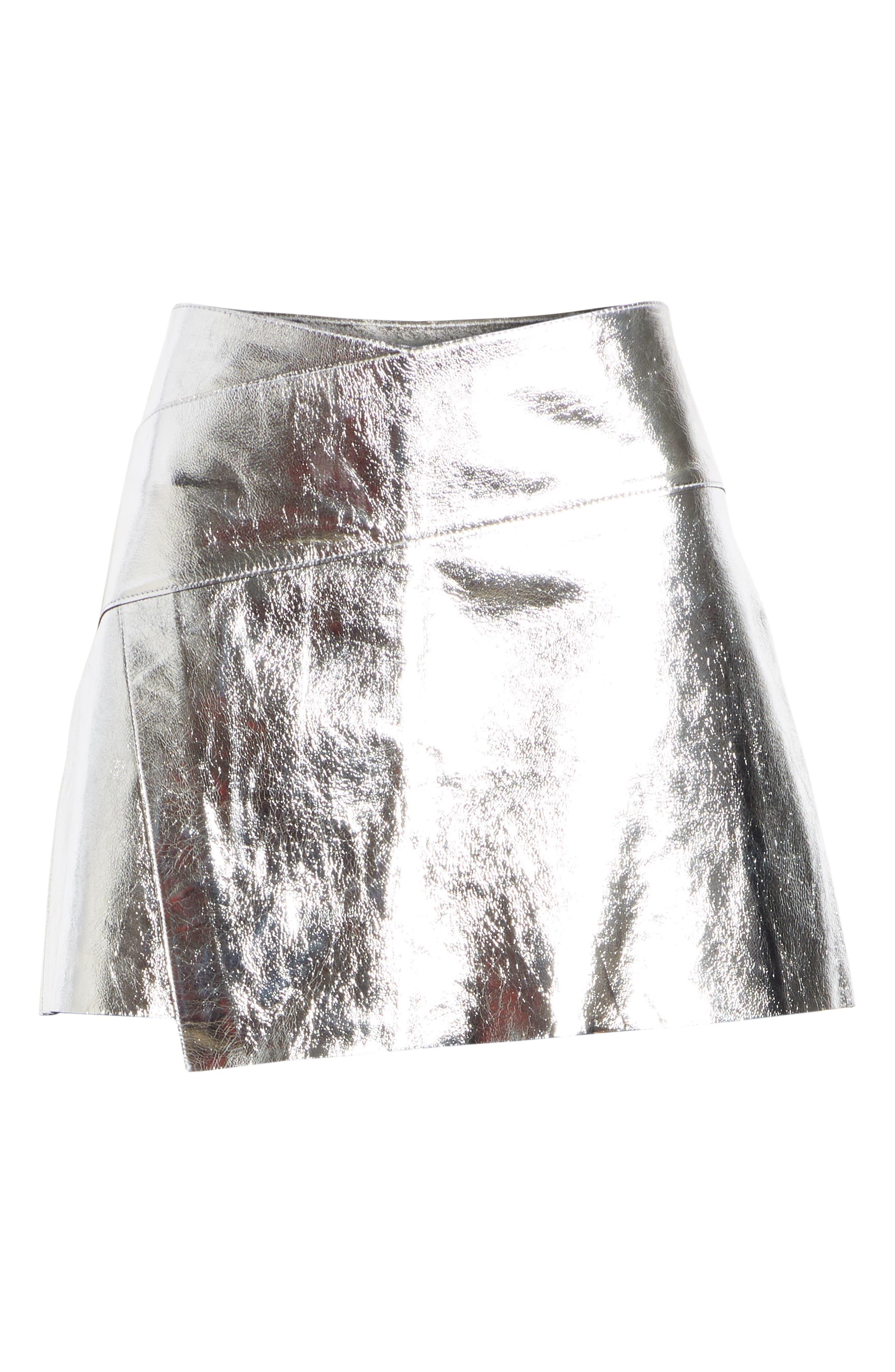 Mania Metallic Leather Skirt,                             Alternate thumbnail 6, color,                             GREY