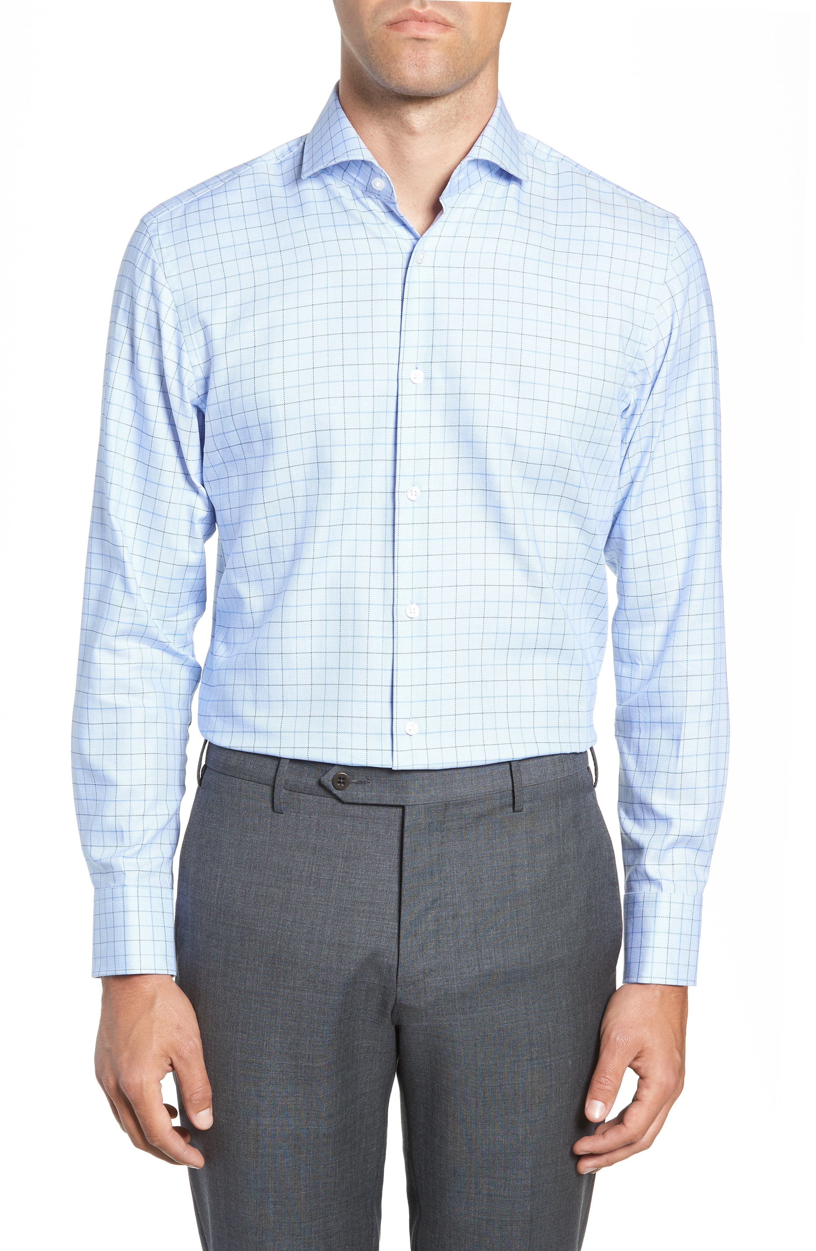Mark Sharp Fit Check Dress Shirt,                         Main,                         color, LIGHT BLUE