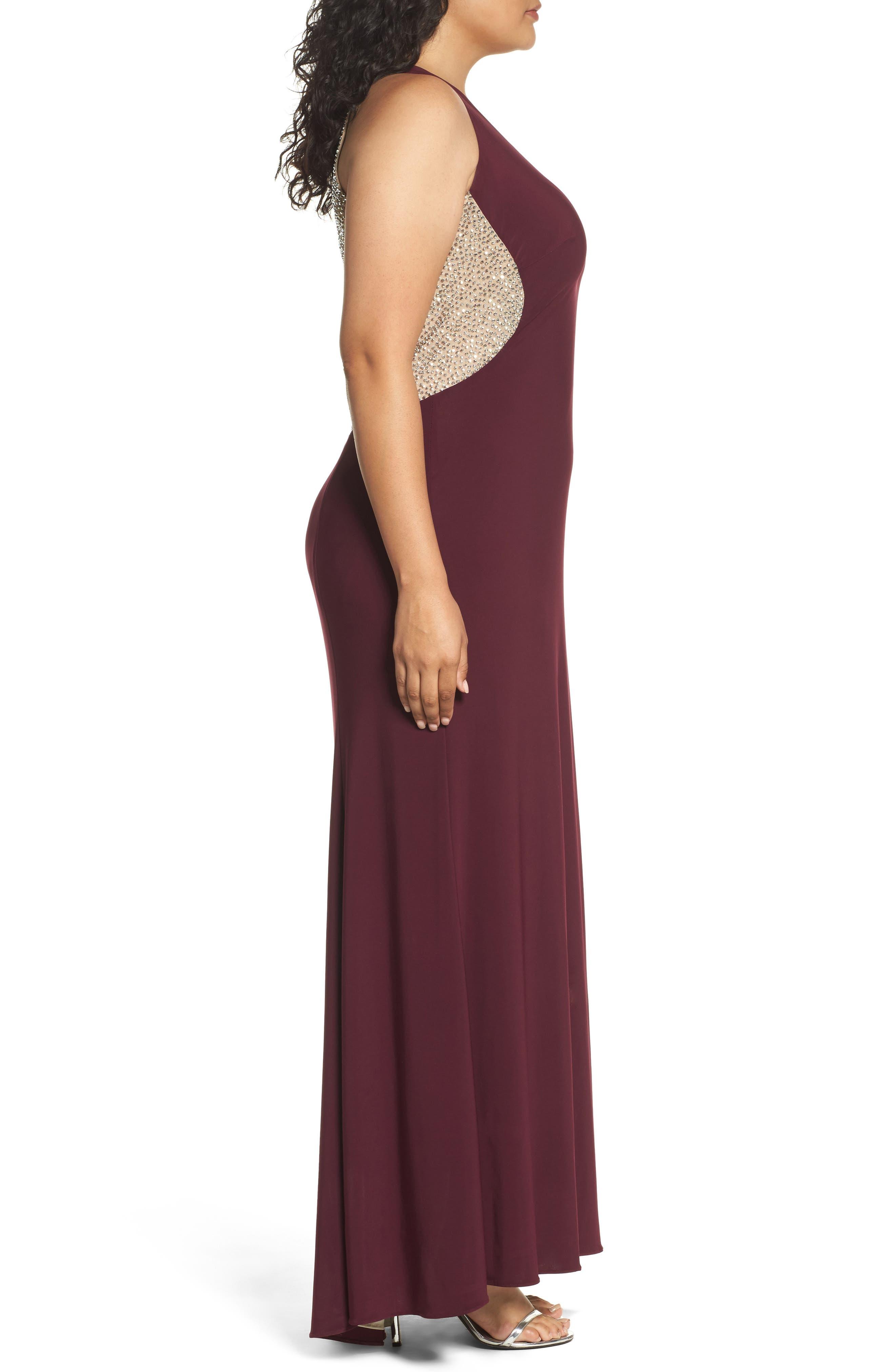 Embellished Back Jersey Gown,                             Alternate thumbnail 3, color,                             607