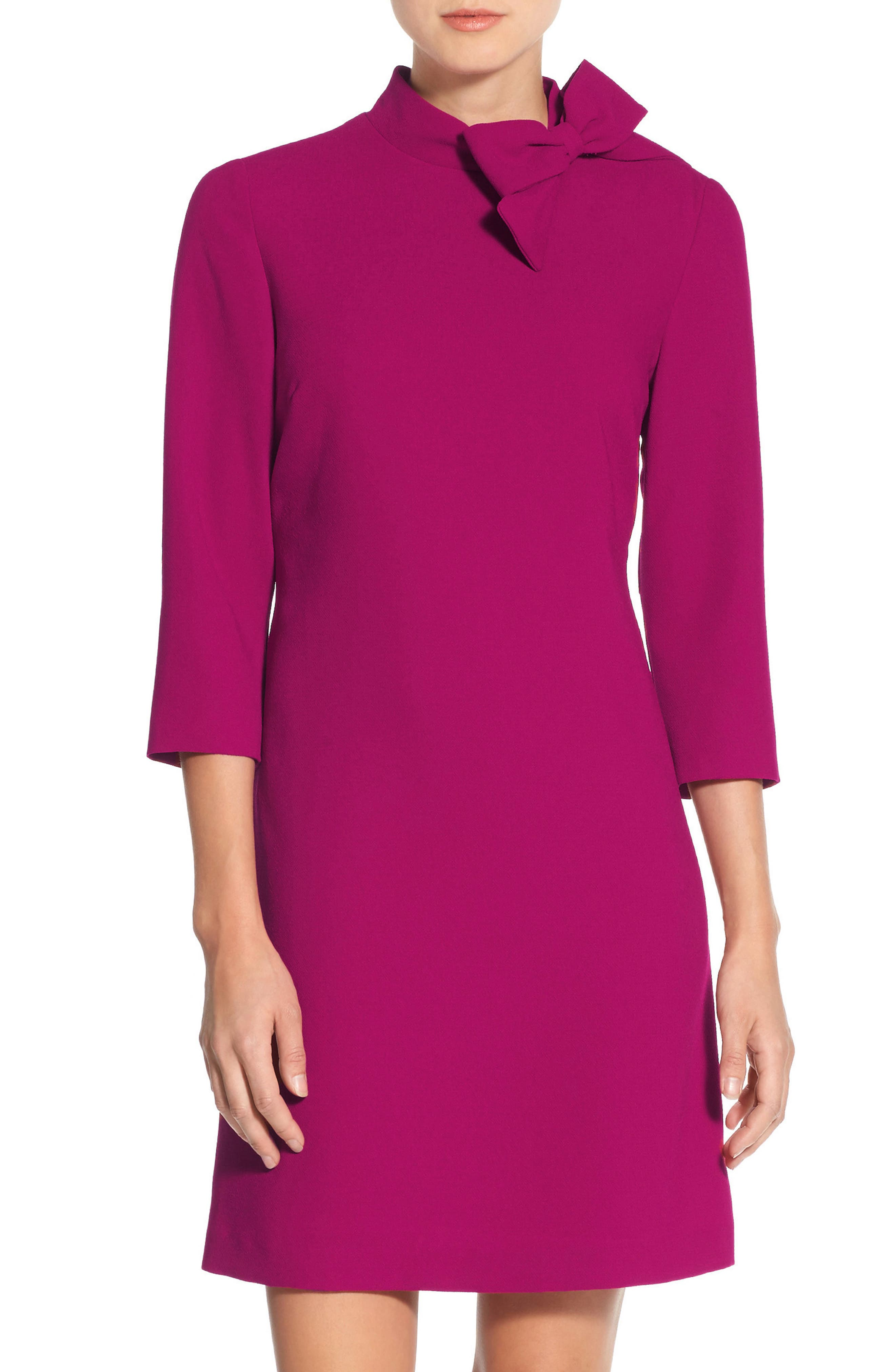 Bow Crepe A-Line Dress,                             Alternate thumbnail 9, color,                             PINK