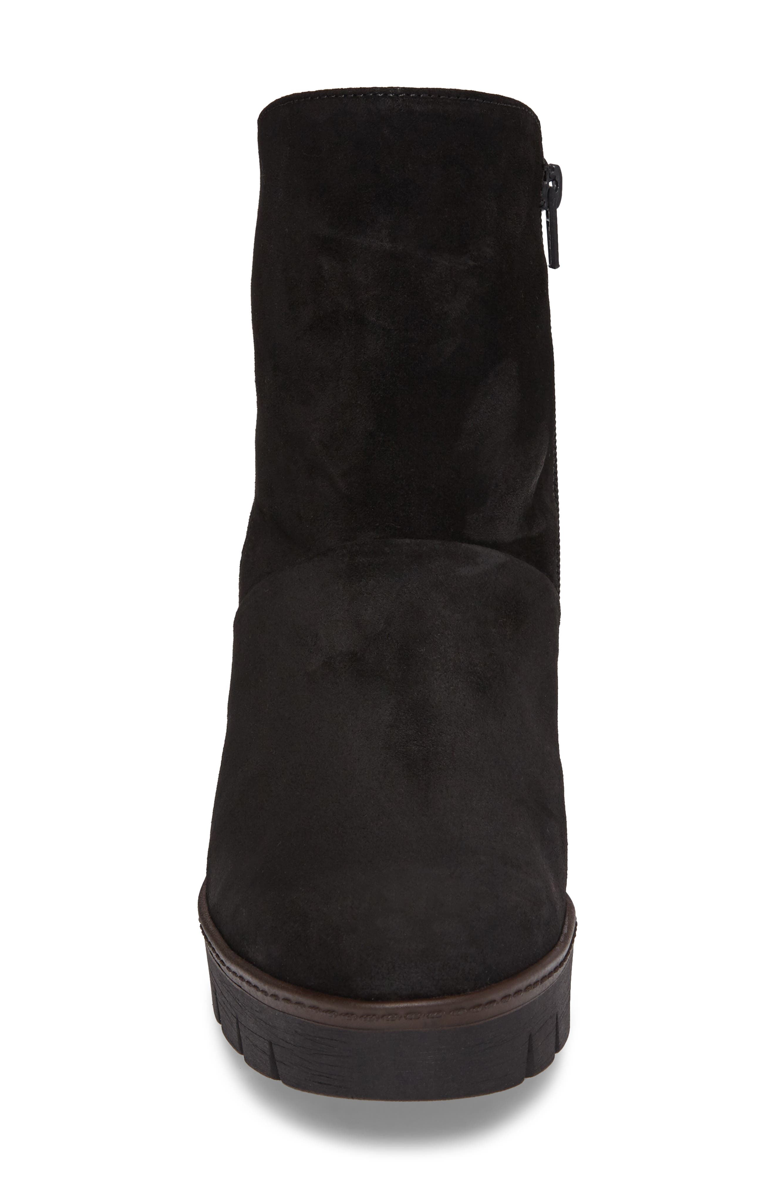 Wedge Bootie,                             Alternate thumbnail 4, color,                             BLACK SUEDE