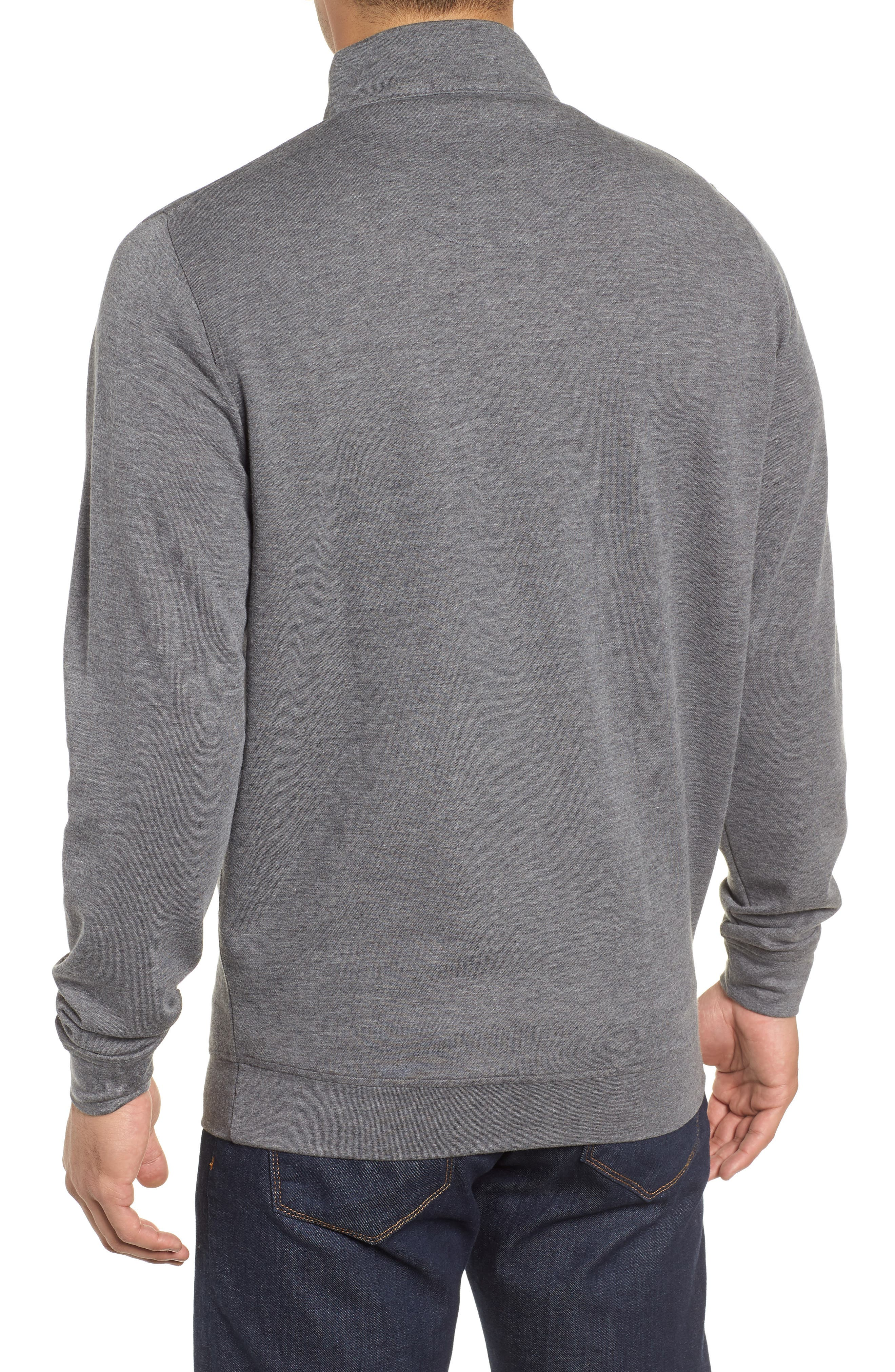 Crown Comfort Jersey Quarter Zip Pullover,                             Alternate thumbnail 2, color,                             CHARCOAL