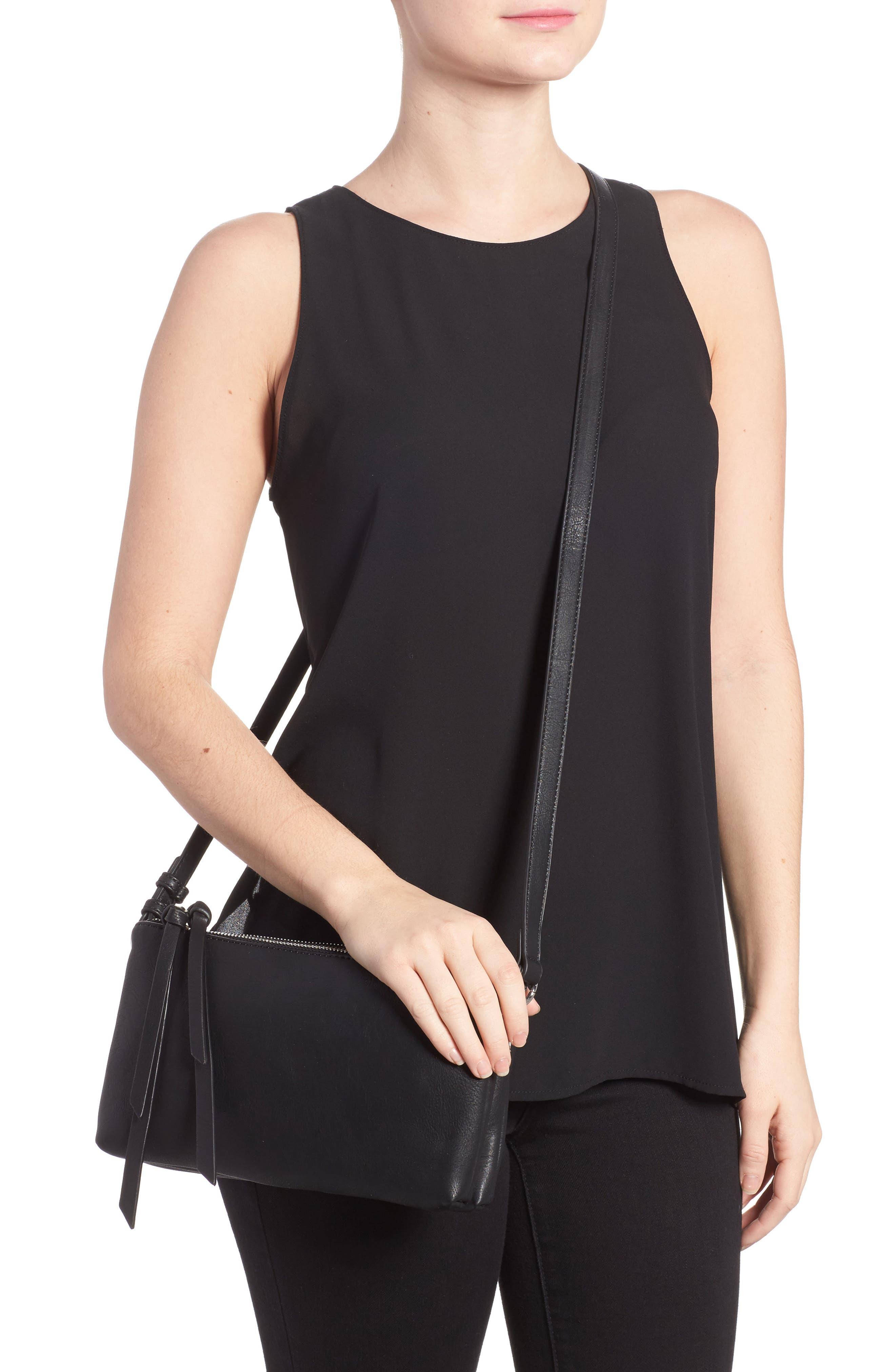 Kia Double Zip Faux Leather Crossbody Bag,                             Alternate thumbnail 2, color,                             001