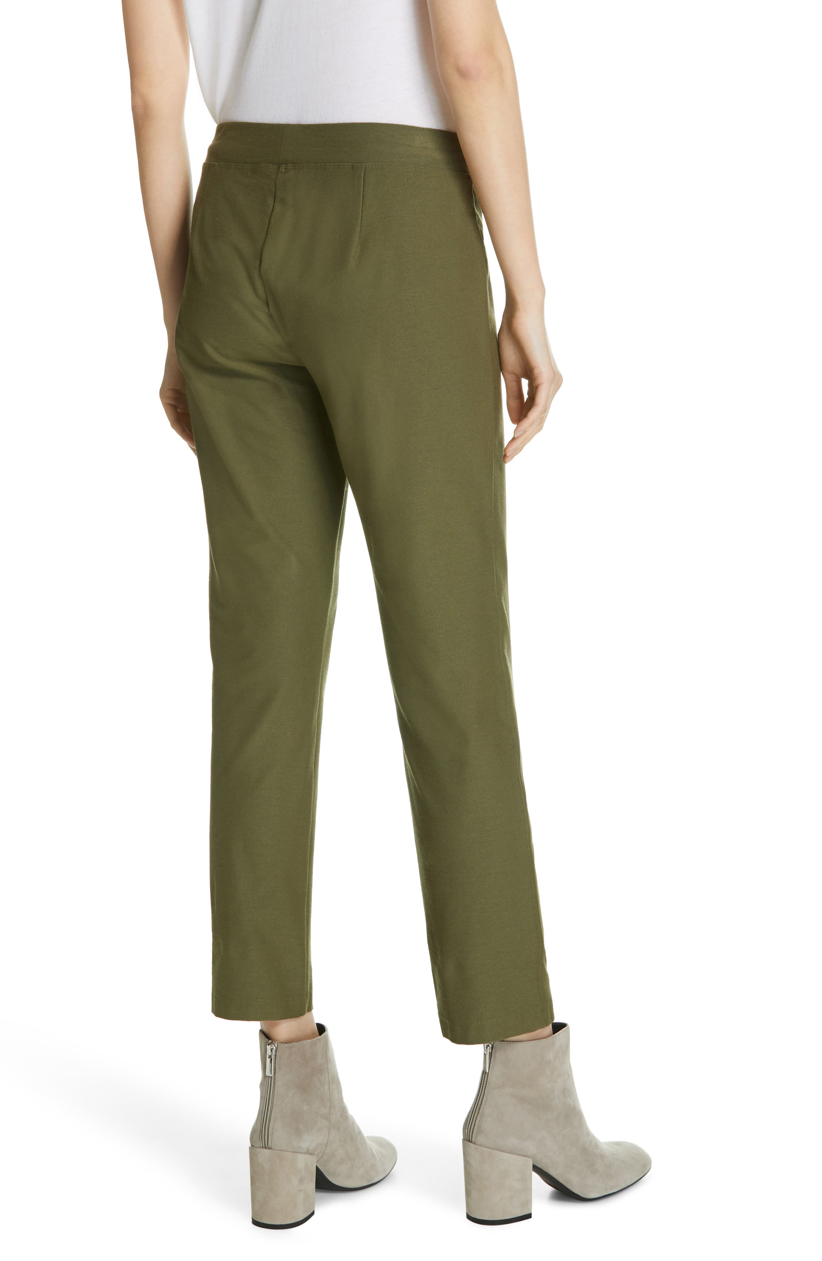 Stretch Crepe Ankle Pants,                             Alternate thumbnail 2, color,                             OLIVE