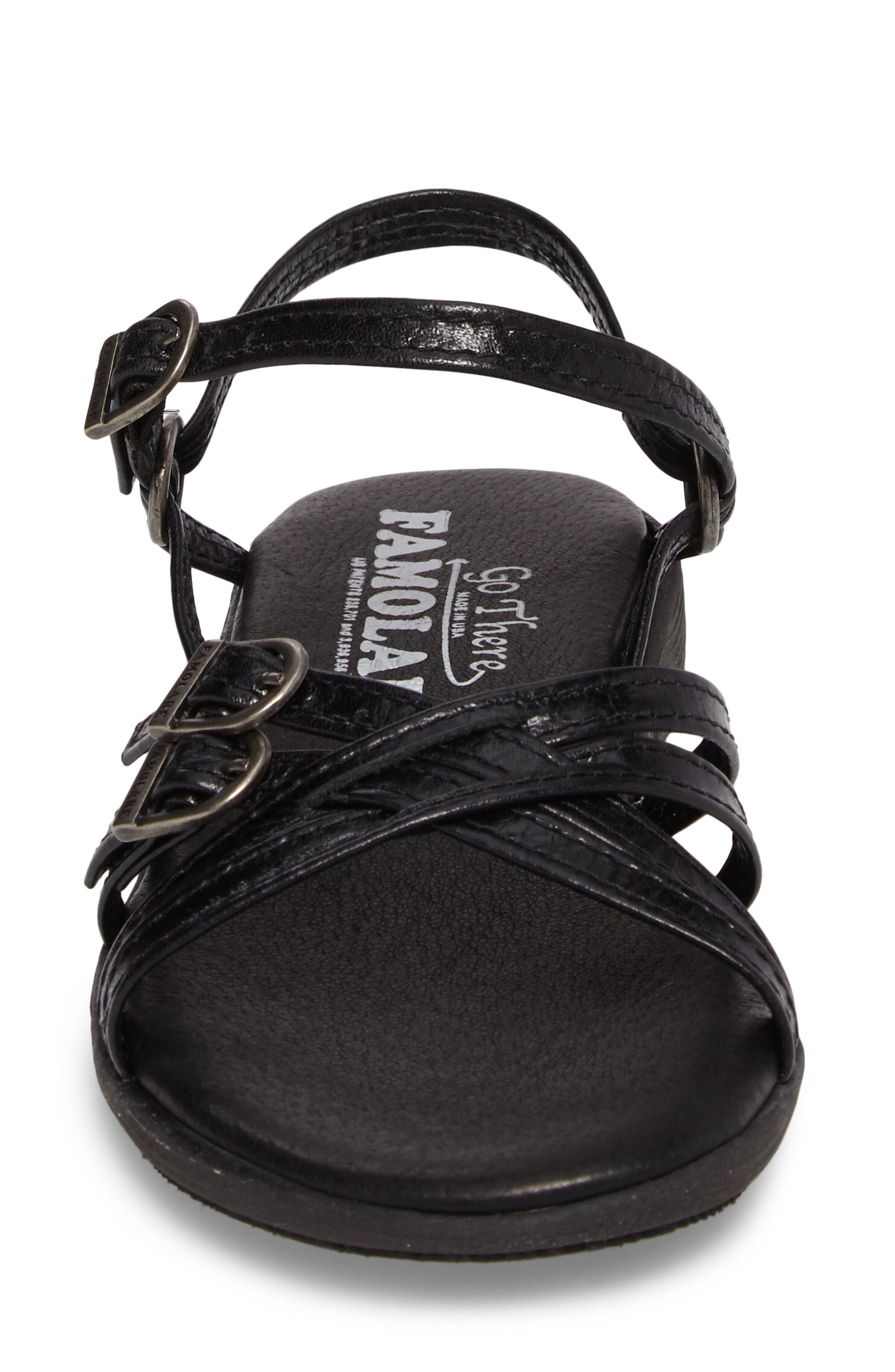 Strapsody Buckle Sandal,                             Alternate thumbnail 4, color,                             COAL LEATHER