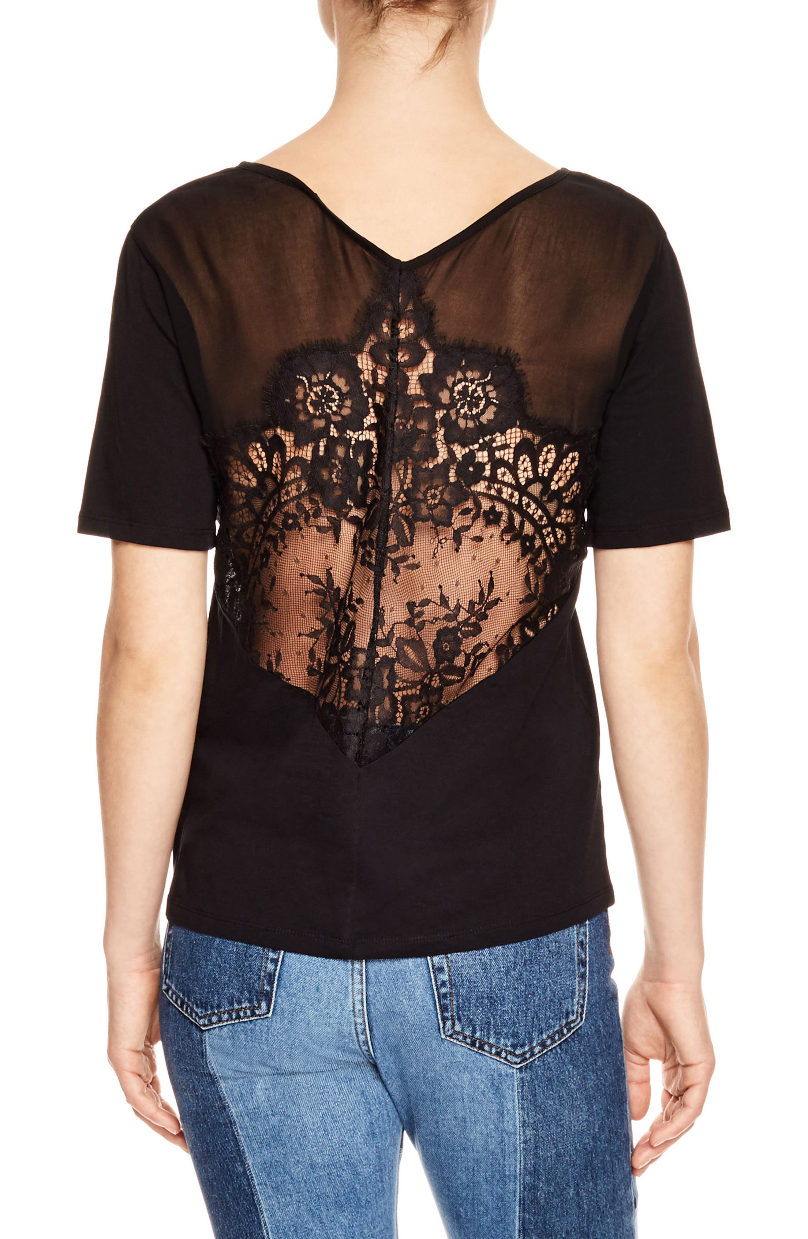 Lace Back Tee,                             Alternate thumbnail 2, color,                             001