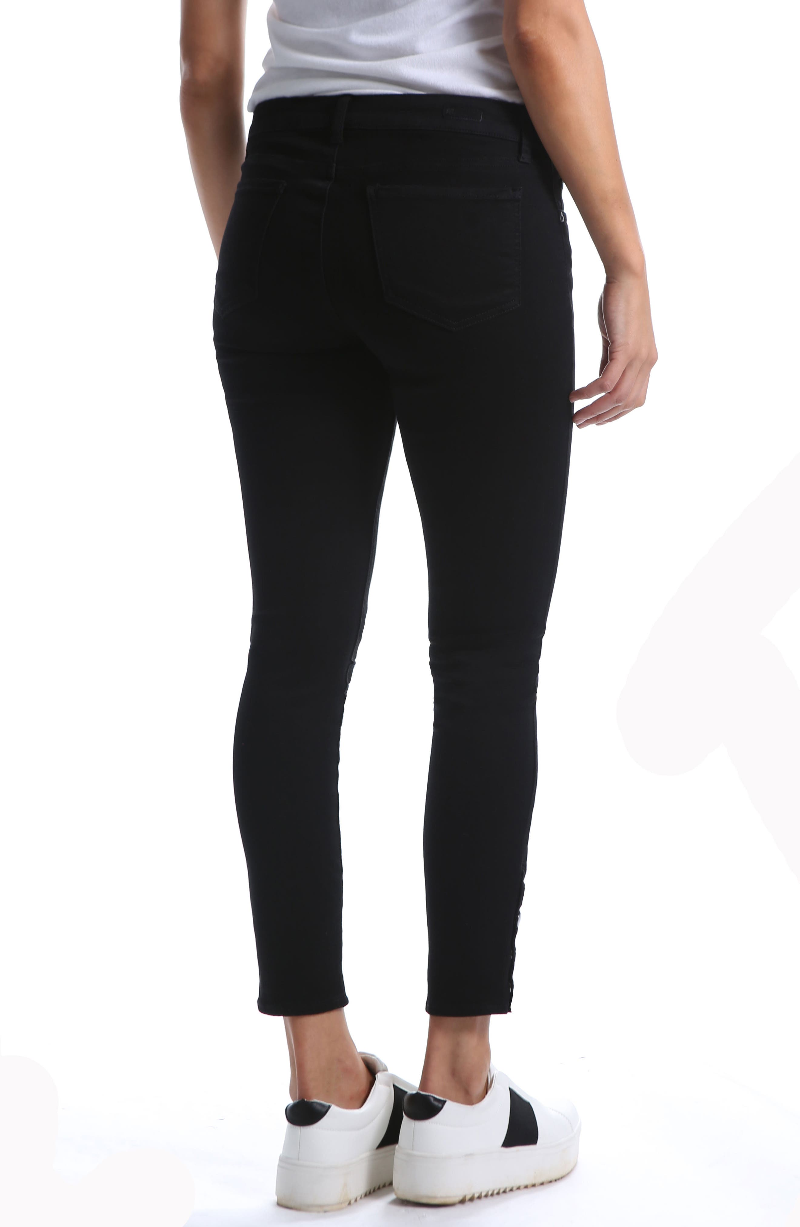 Snap Ankle Jeans,                             Alternate thumbnail 2, color,                             BLACK 2