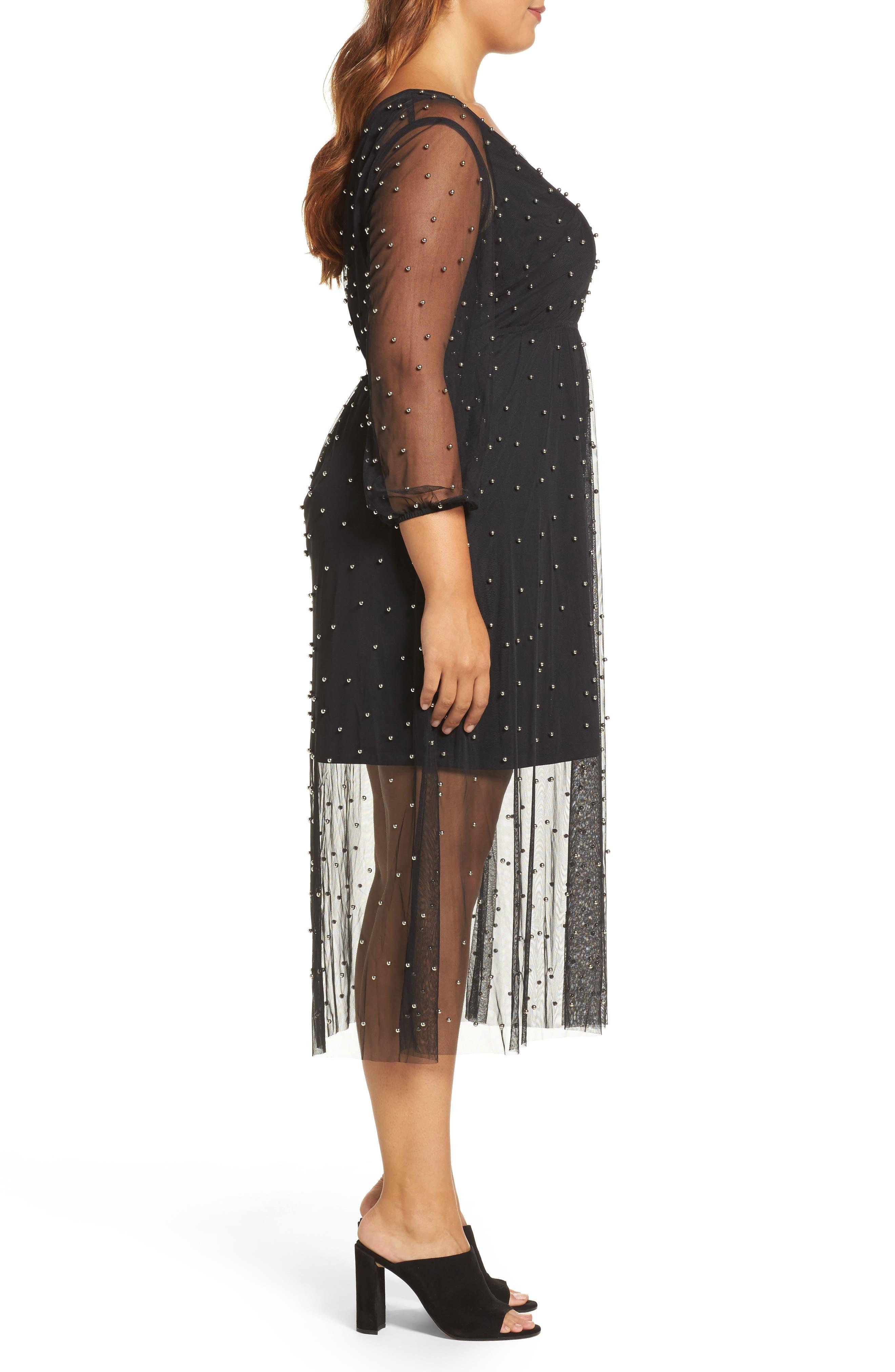 Beaded Mesh Midi Dress,                             Alternate thumbnail 3, color,                             001