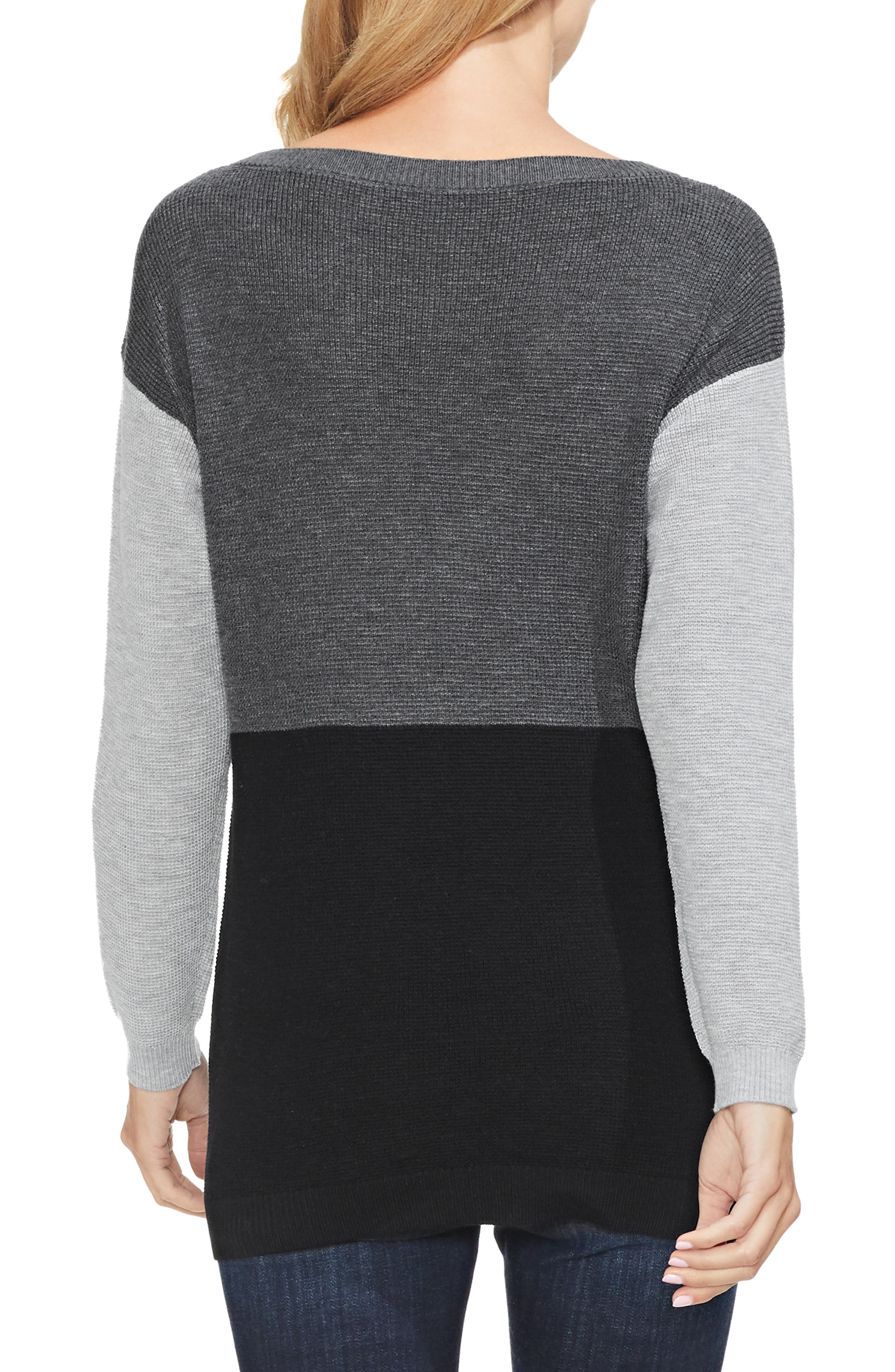 Colorblock Sweater,                             Alternate thumbnail 2, color,                             MED HEATHER GREY