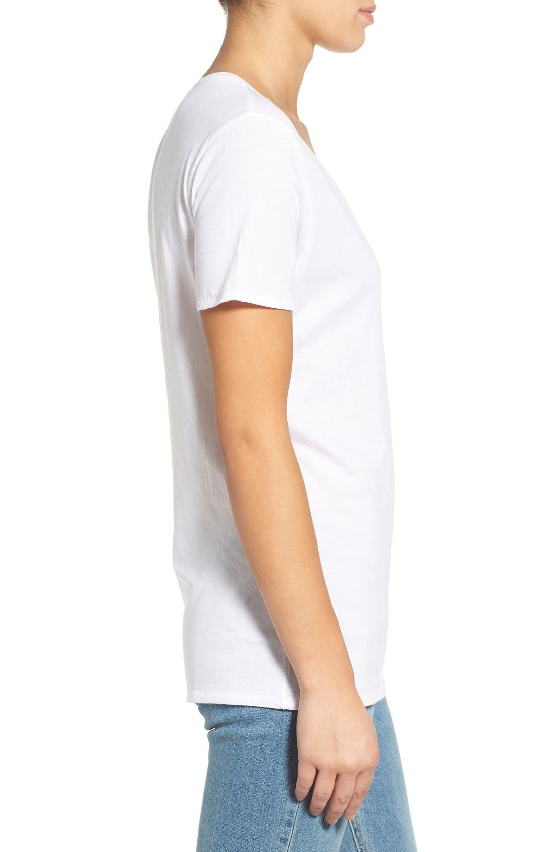 'Base' Cotton V-Neck Tee,                             Alternate thumbnail 3, color,                             101