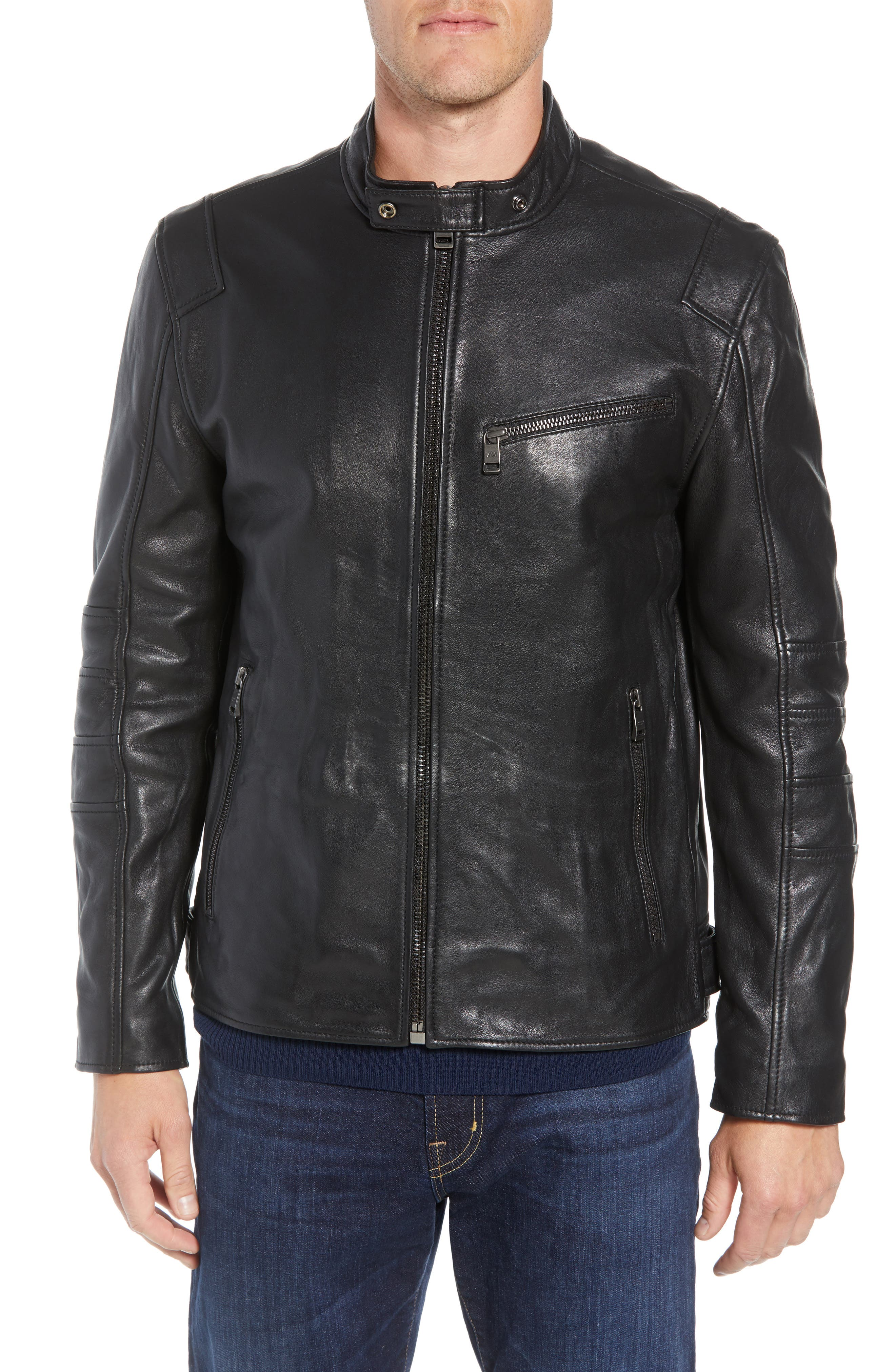 ANDREW MARC,                             Quilted Leather Moto Jacket,                             Alternate thumbnail 4, color,                             BLACK