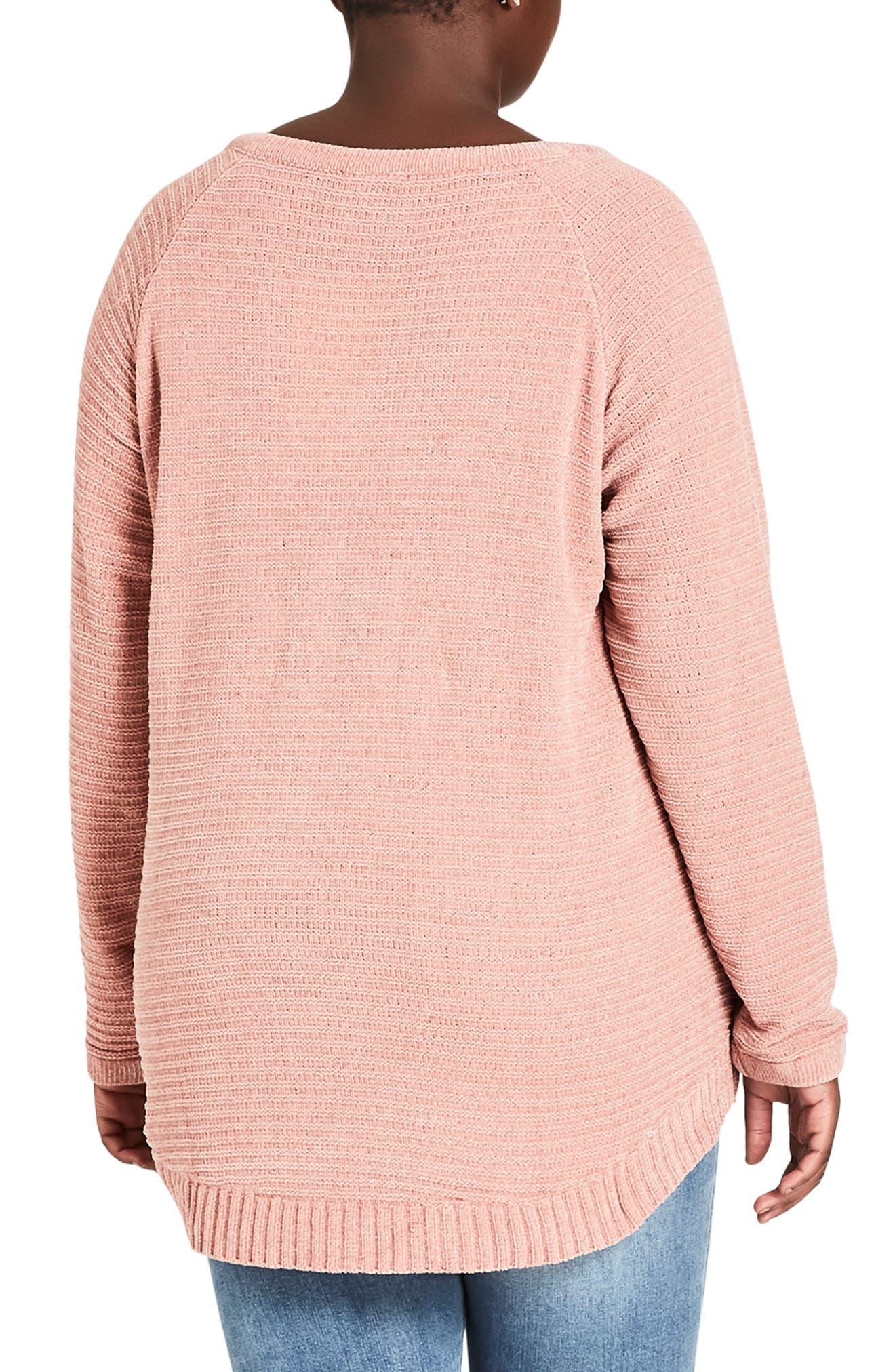 Zip Detail Sweater,                             Alternate thumbnail 2, color,                             DAINTY ROSE