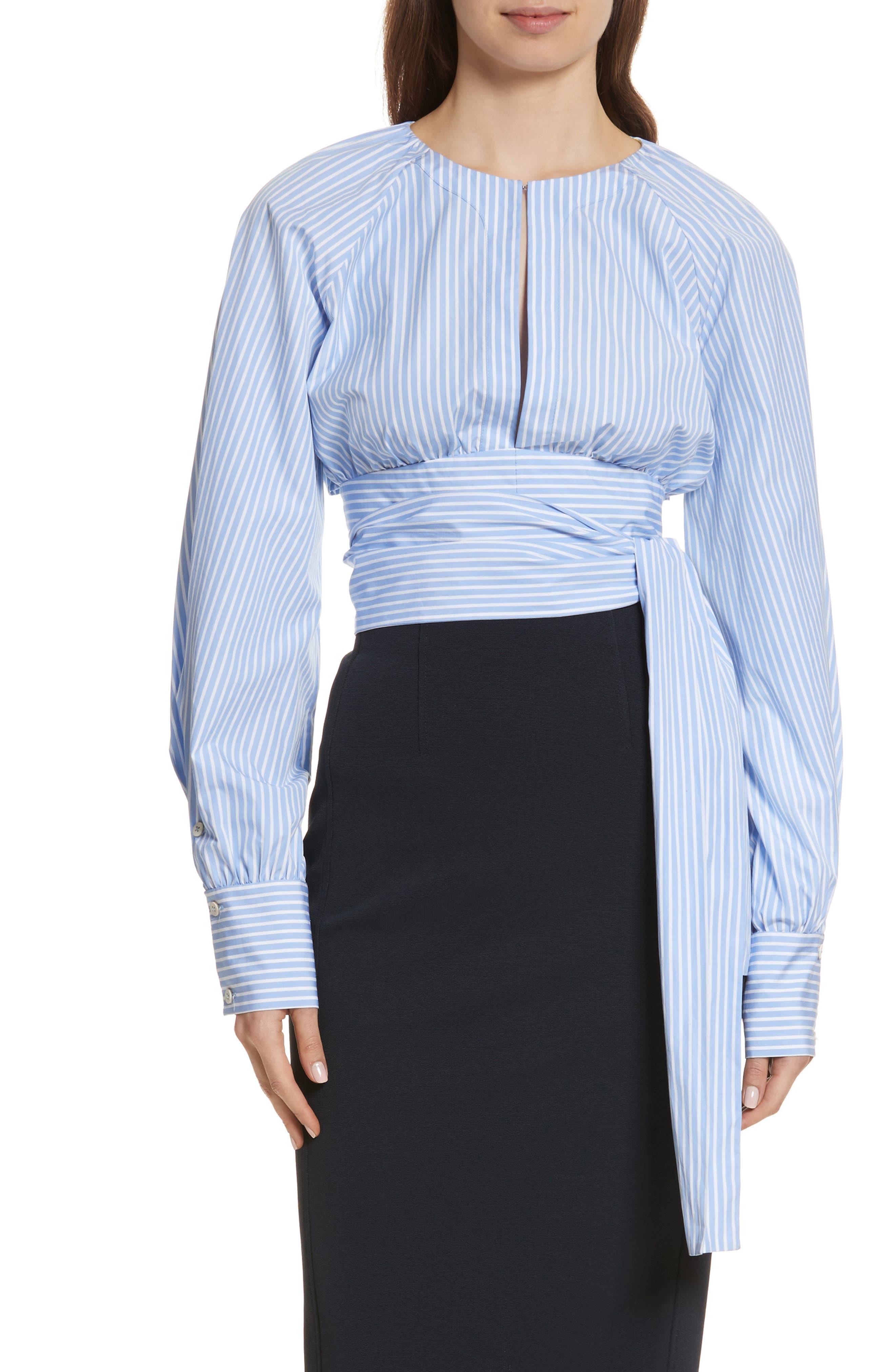 Diane von Furstenberg Keyhole Crop Cotton Blouse,                         Main,                         color,