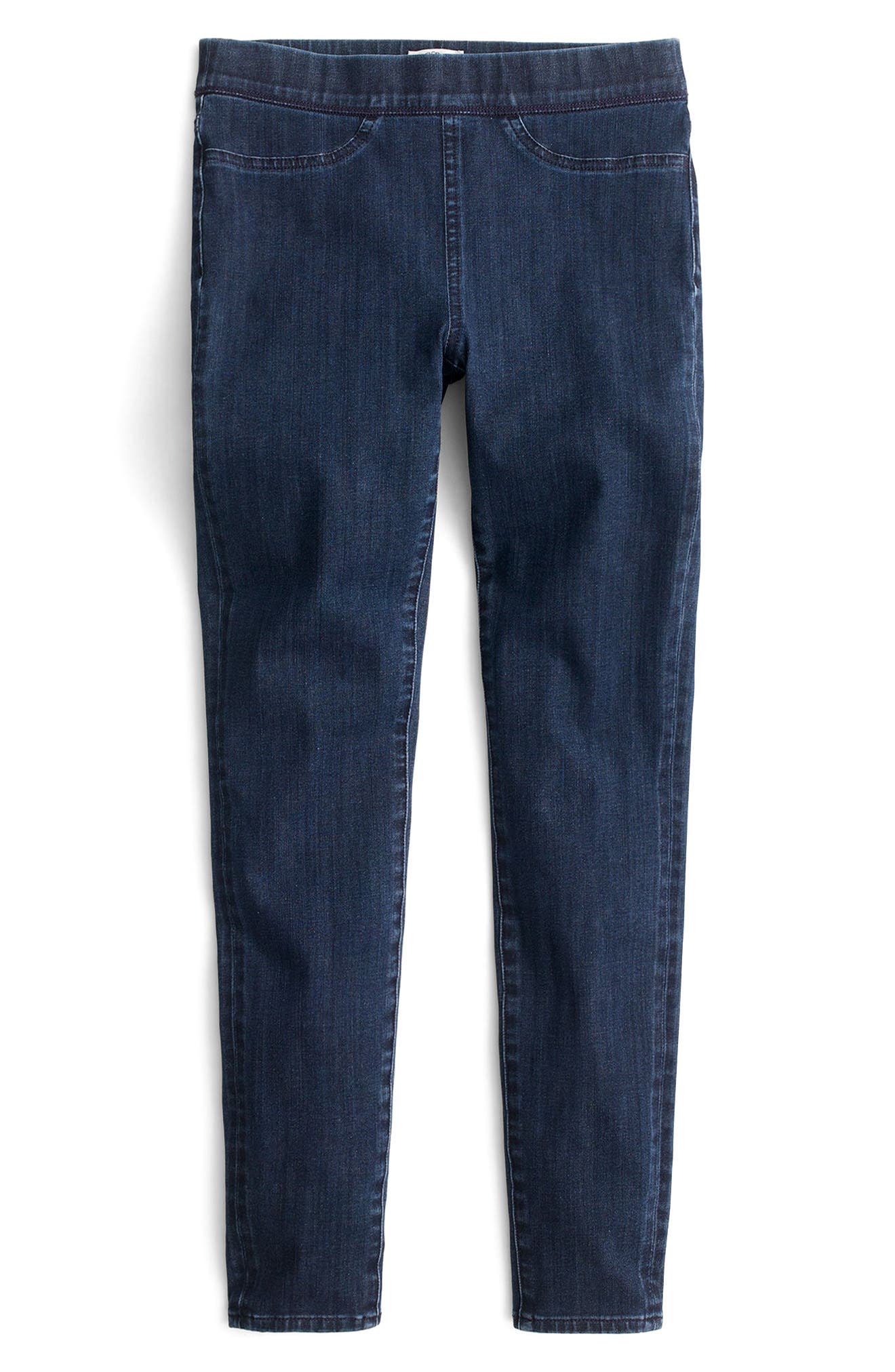 Pull-On Toothpick Indigo Jeans,                             Alternate thumbnail 3, color,