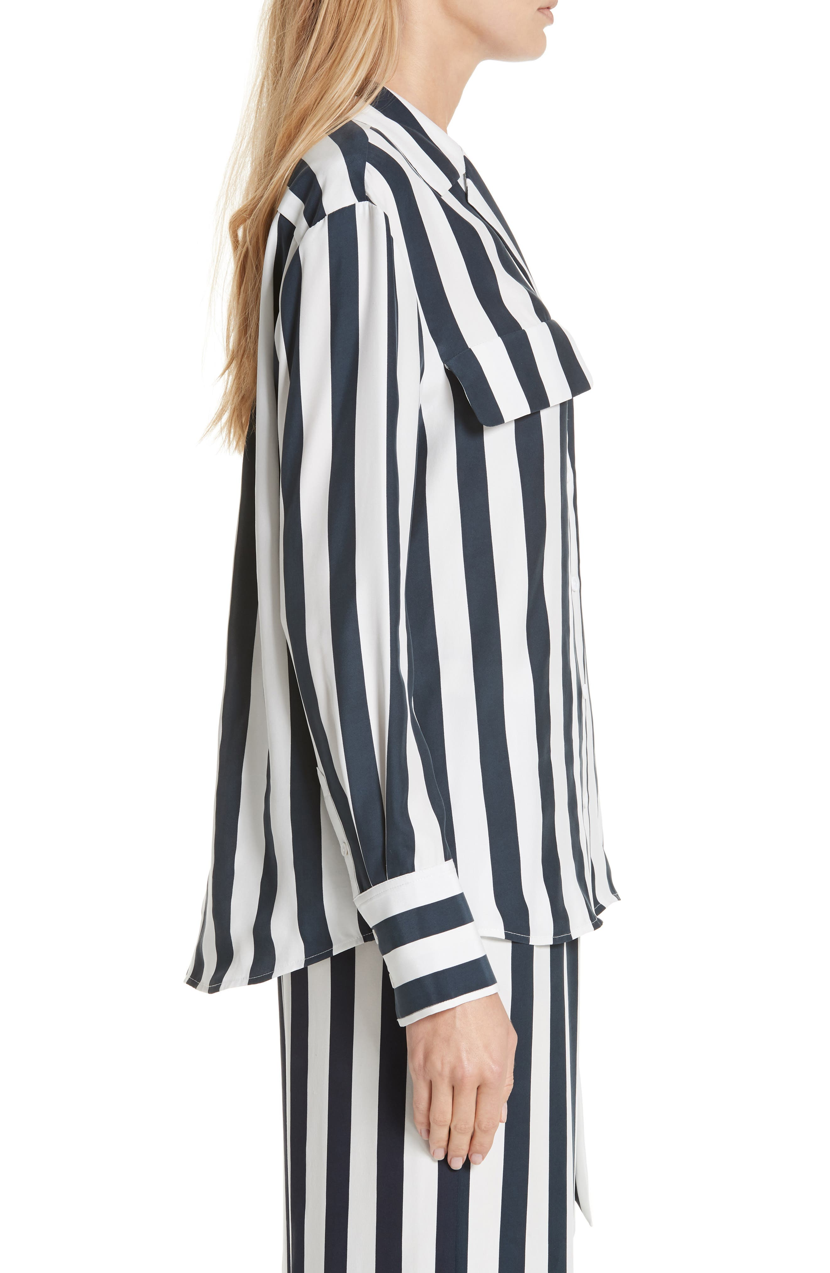 Stripe Silk Shirt,                             Alternate thumbnail 3, color,                             NAVY MULTI