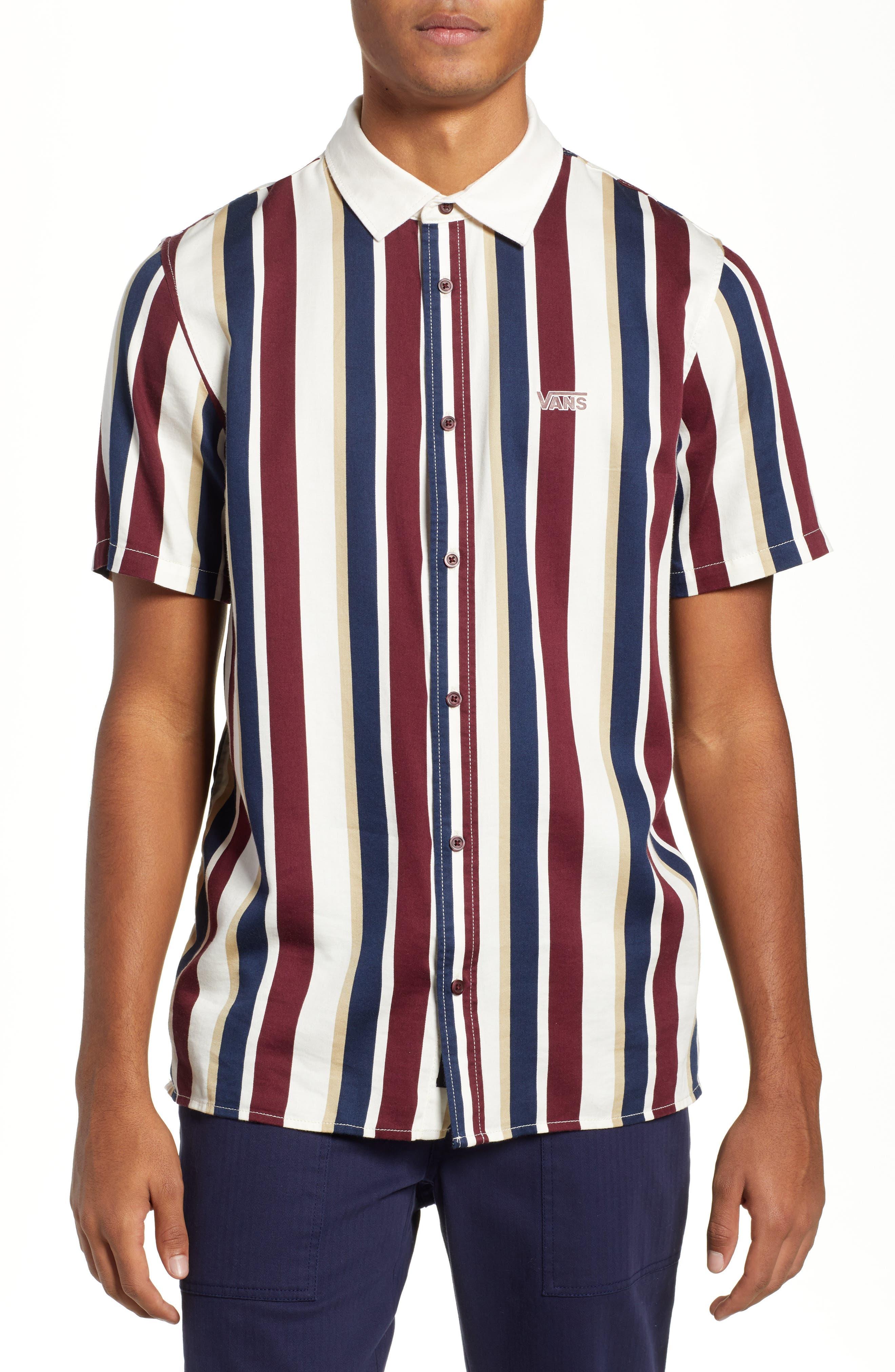 Big Bars Short Sleeve Shirt,                             Main thumbnail 1, color,                             OFF WHITE