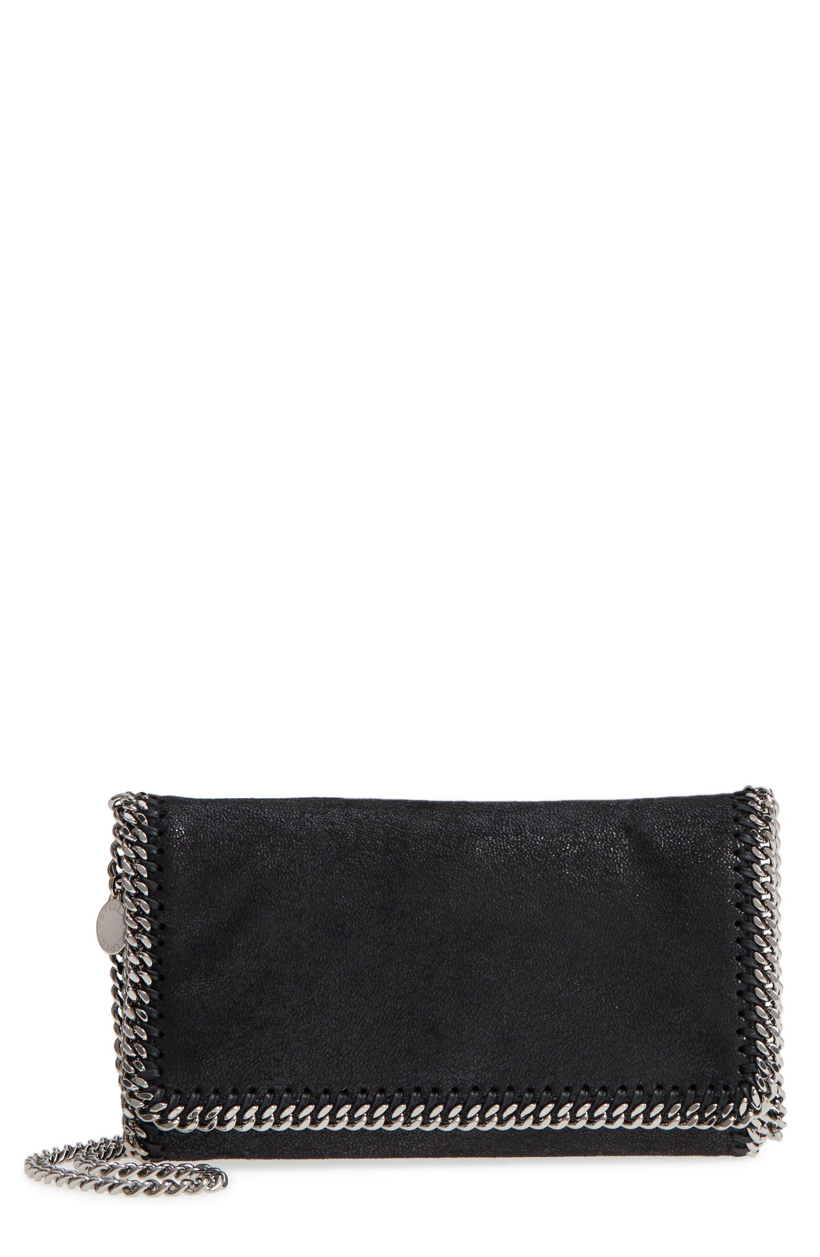 'Falabella - Shaggy Deer' Faux Leather Crossbody Bag,                             Main thumbnail 1, color,                             BLACK SLVR HRDWR